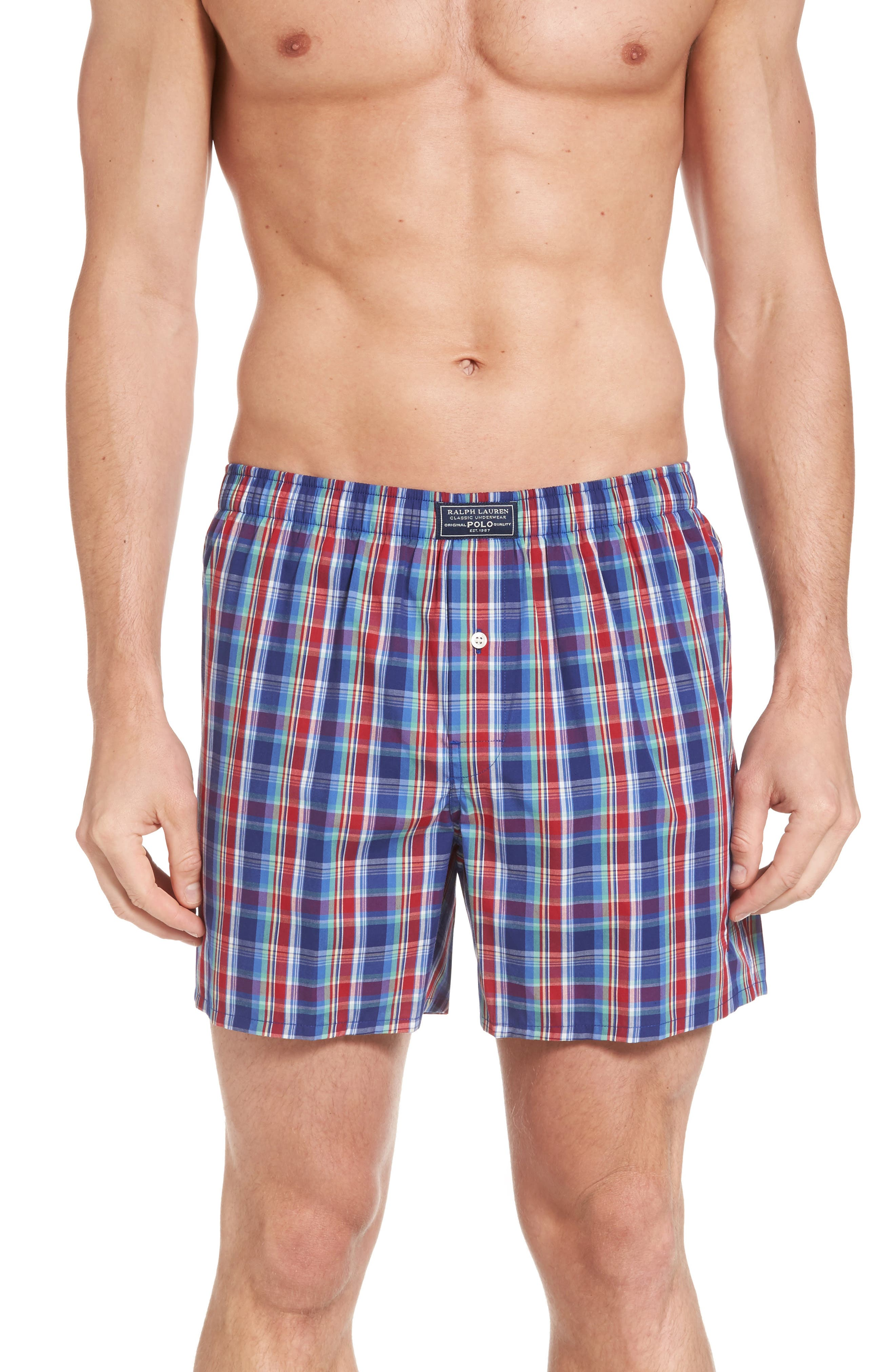 Classic Woven Cotten Boxers,                             Main thumbnail 1, color,                             Baxter Plaid