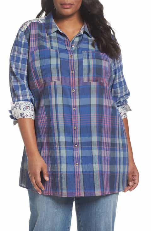 Caslon® Mix Plaid Floral Print Tunic (Plus Size) - Women S Plaid Shirt Nordstrom