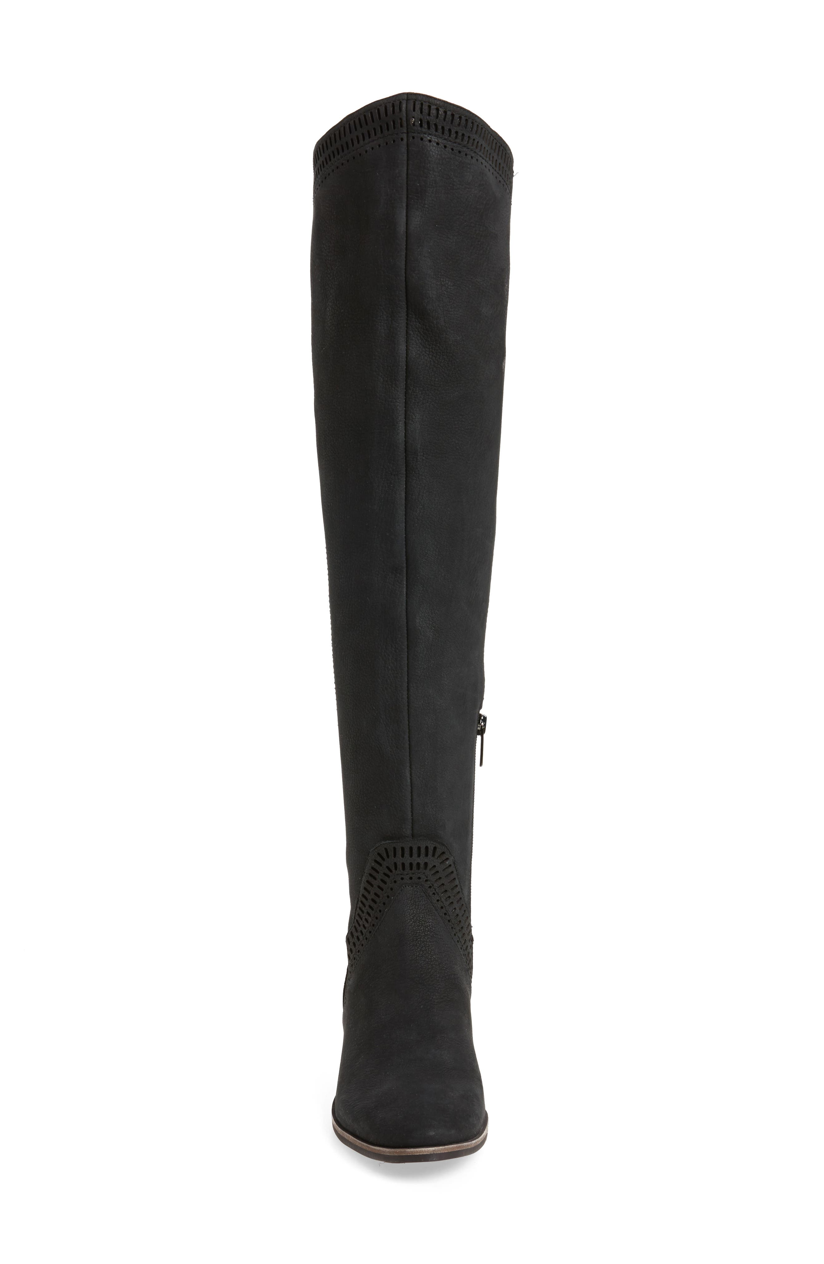 Karinda Over the Knee Boot,                             Alternate thumbnail 4, color,                             Black Leather Wide Calf