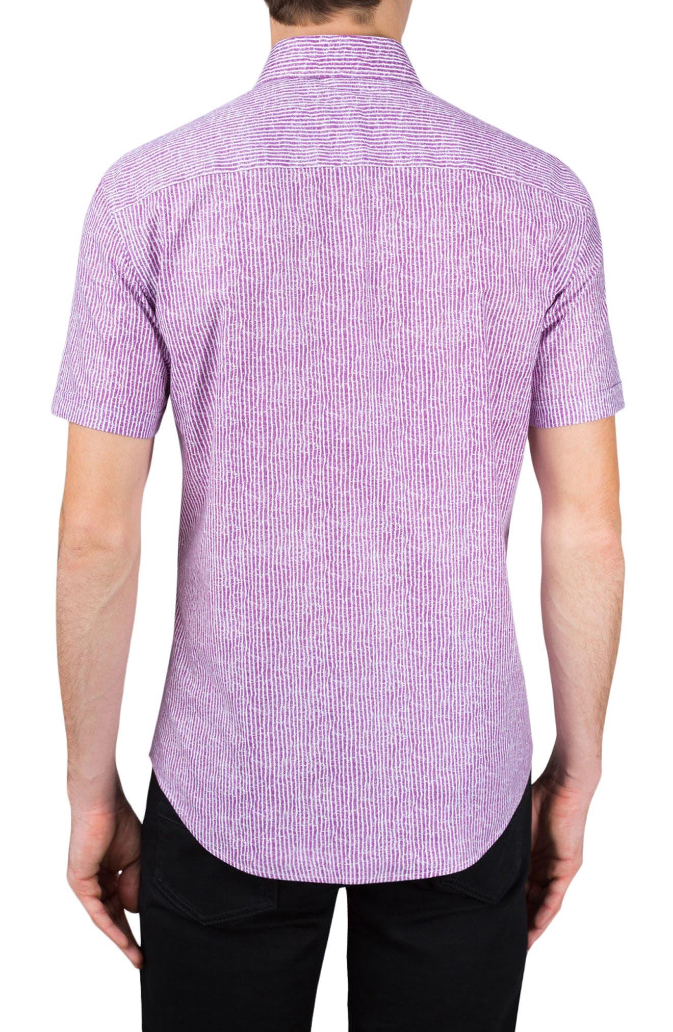 Shaped Fit Stripe Sport Shirt,                             Alternate thumbnail 3, color,                             Plum