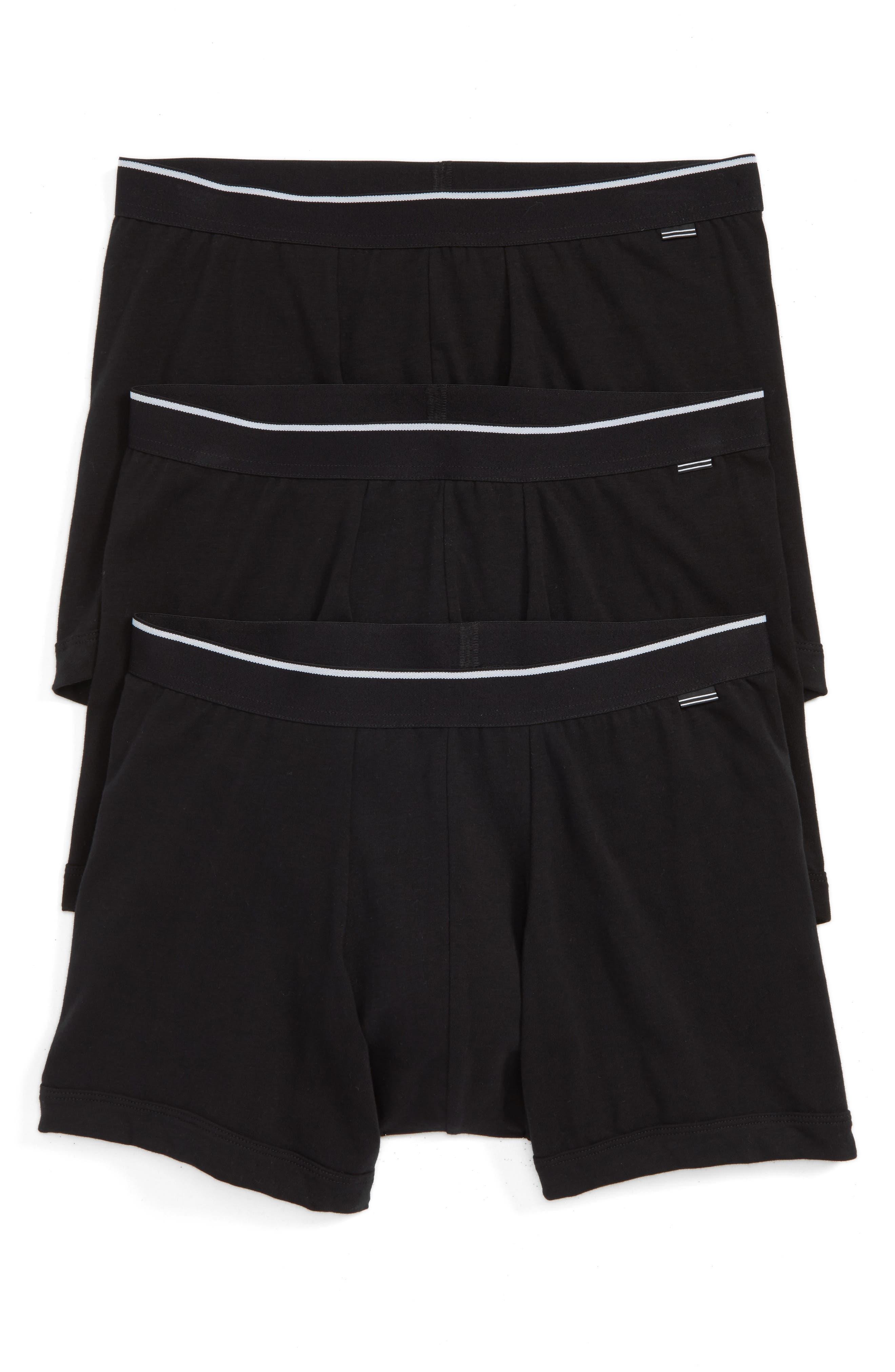 3-Pack Stretch Cotton Boxer Briefs,                             Main thumbnail 1, color,                             Black