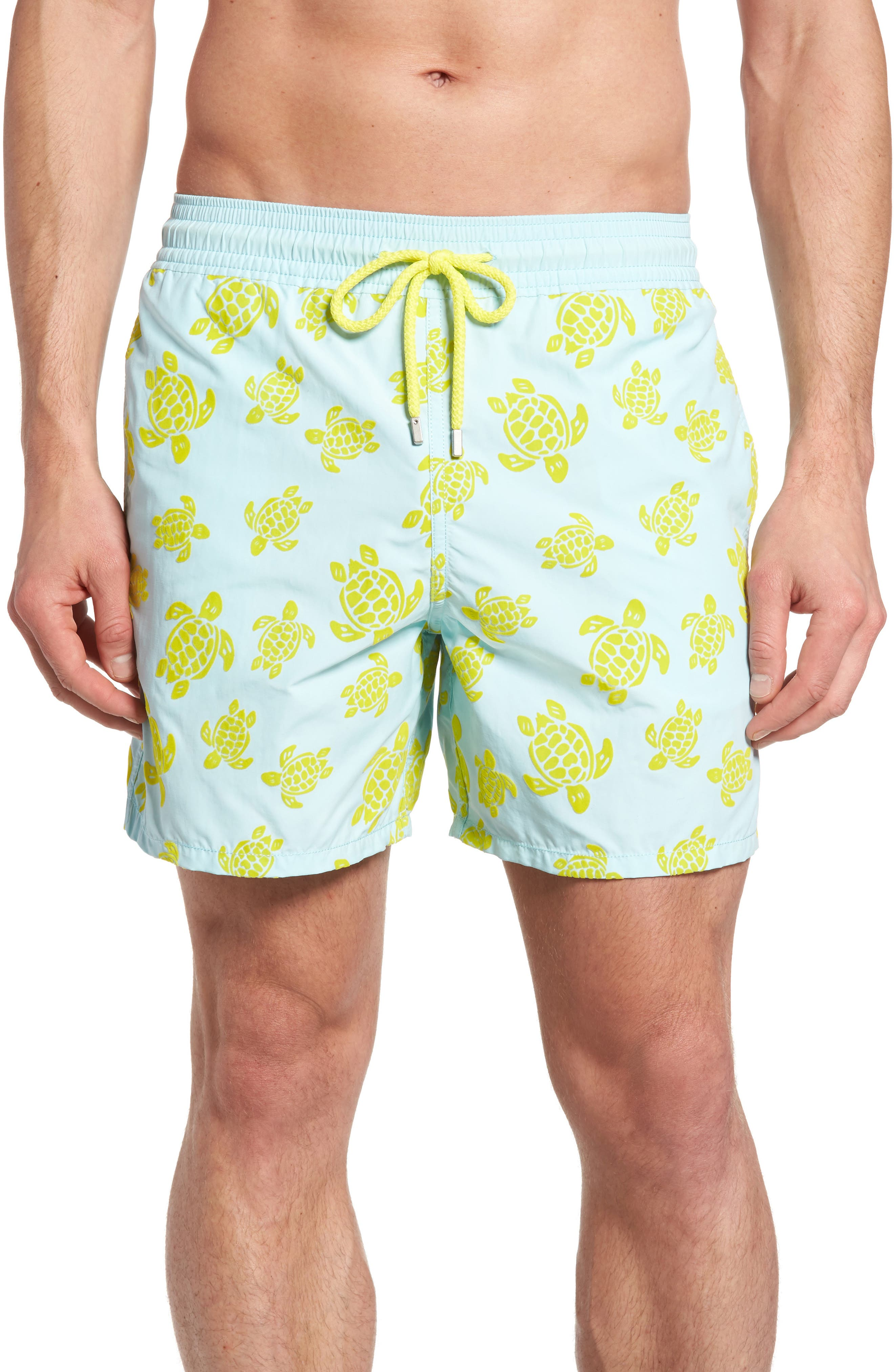 Moorea Flocked Turtles Print Swim Trunks,                         Main,                         color, Frosted Blue