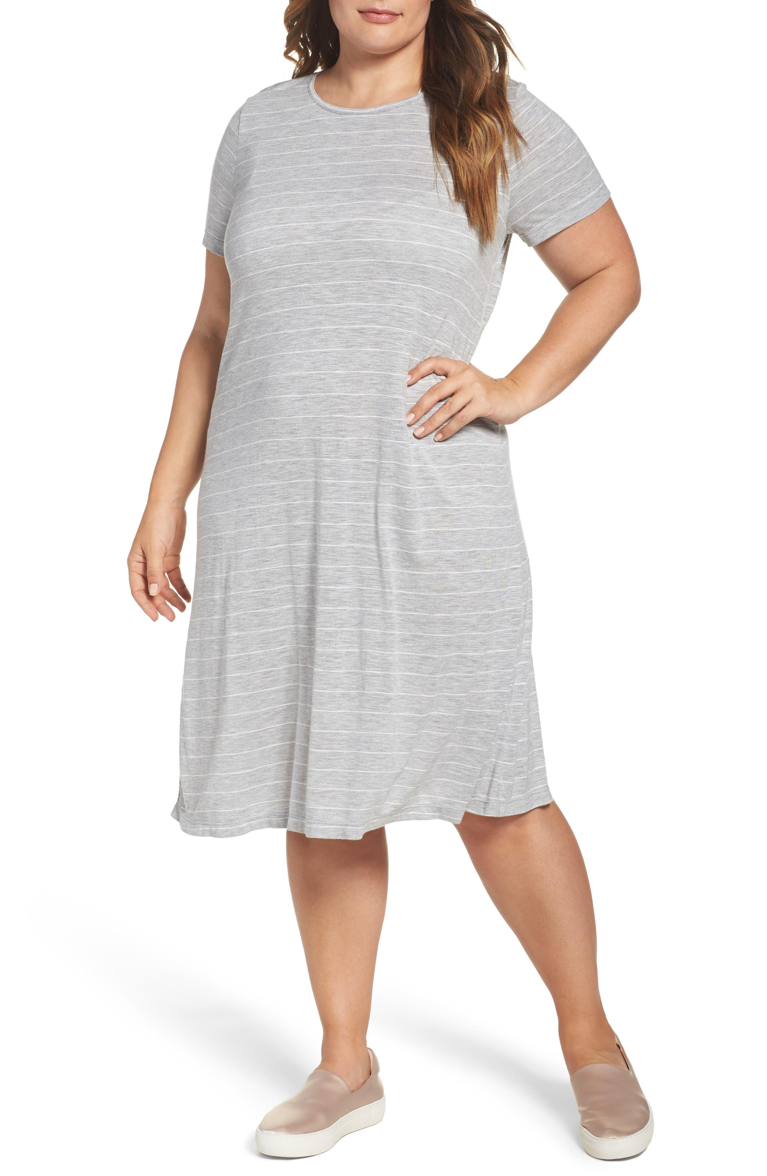 Delicate Stripe T-Shirt Dress,                         Main,                         color, Grey Heather