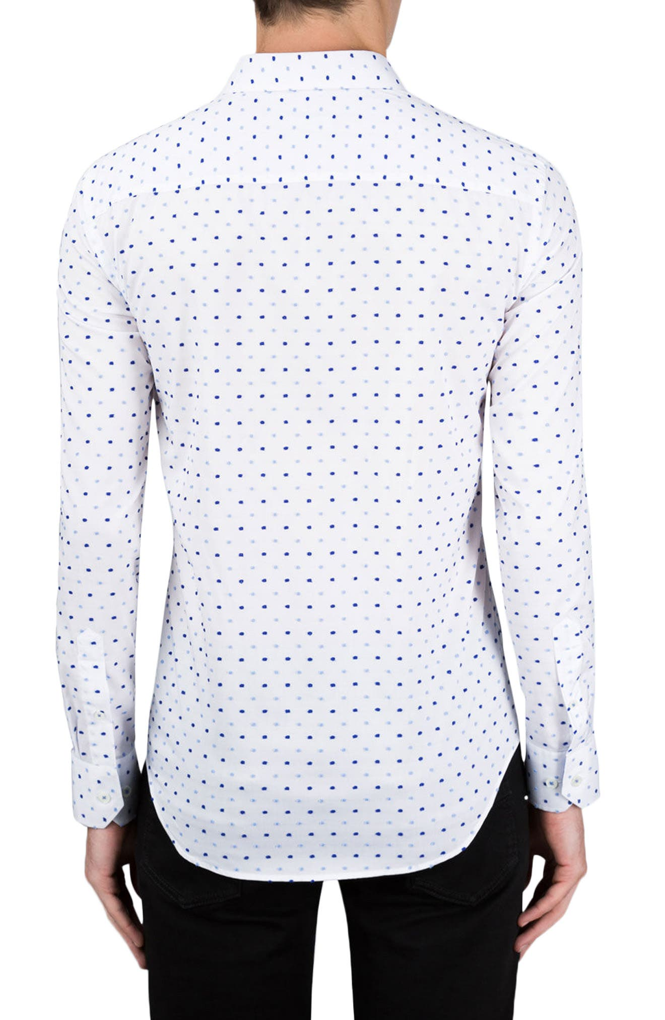 Classic Fit Embroidered Dot Sport Shirt,                             Alternate thumbnail 2, color,                             White