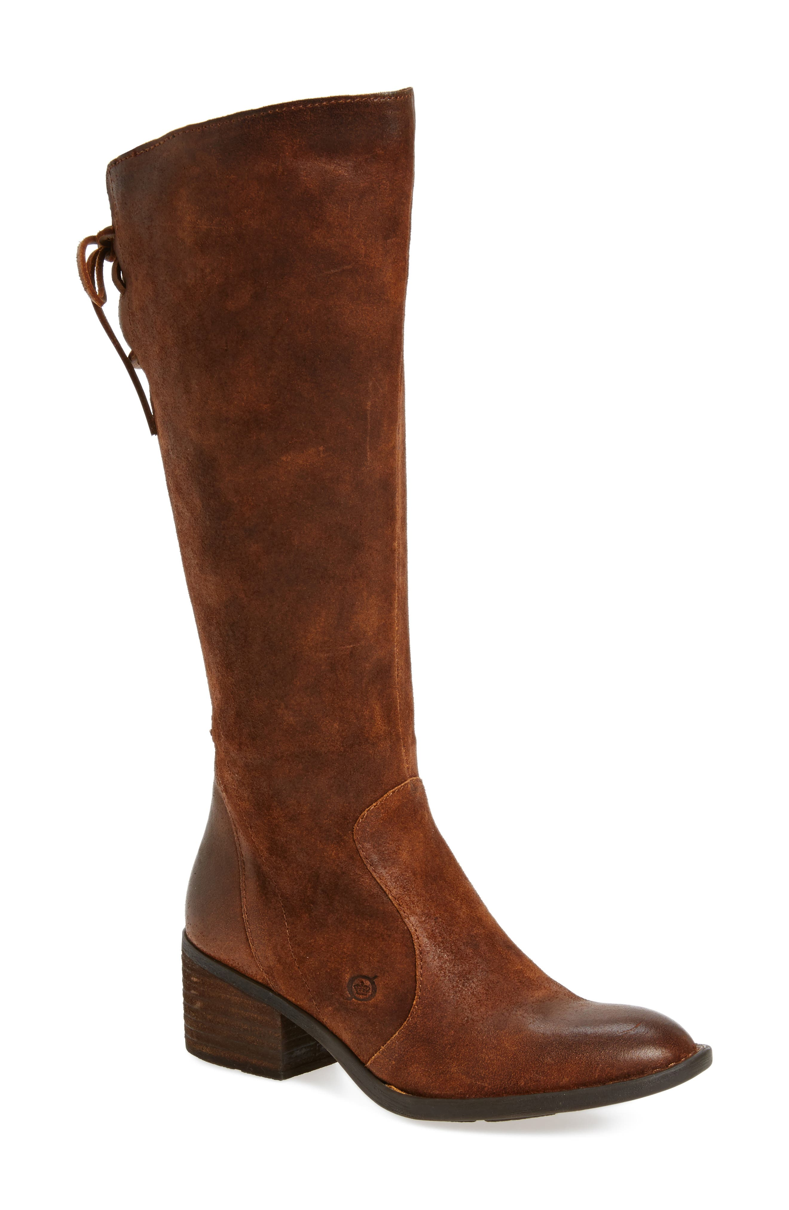 Felicia Knee High Boot,                             Main thumbnail 1, color,                             Rust Distressed Leather