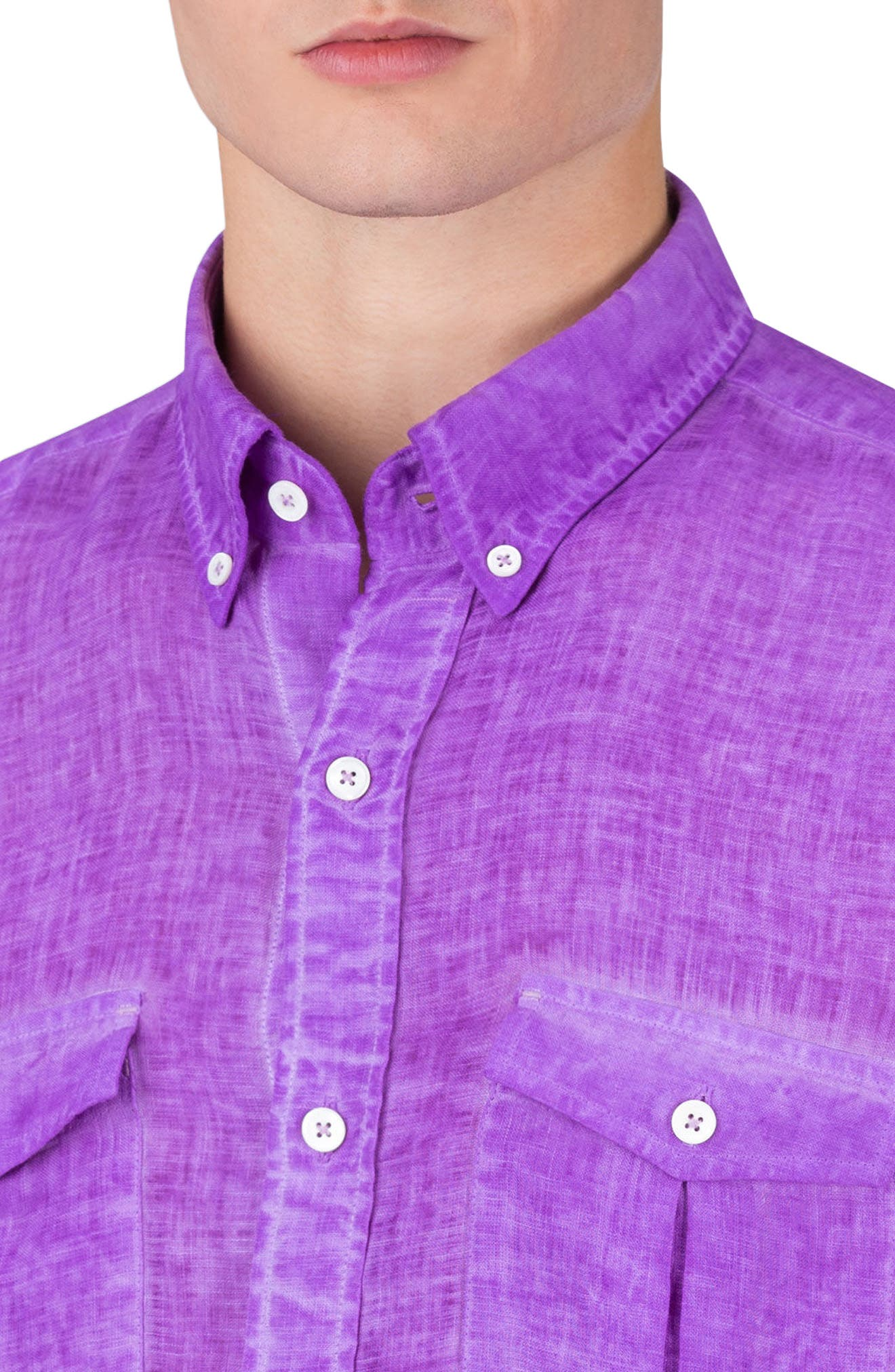 Shaped Fit Linen Sport Shirt,                             Alternate thumbnail 3, color,                             Orchid