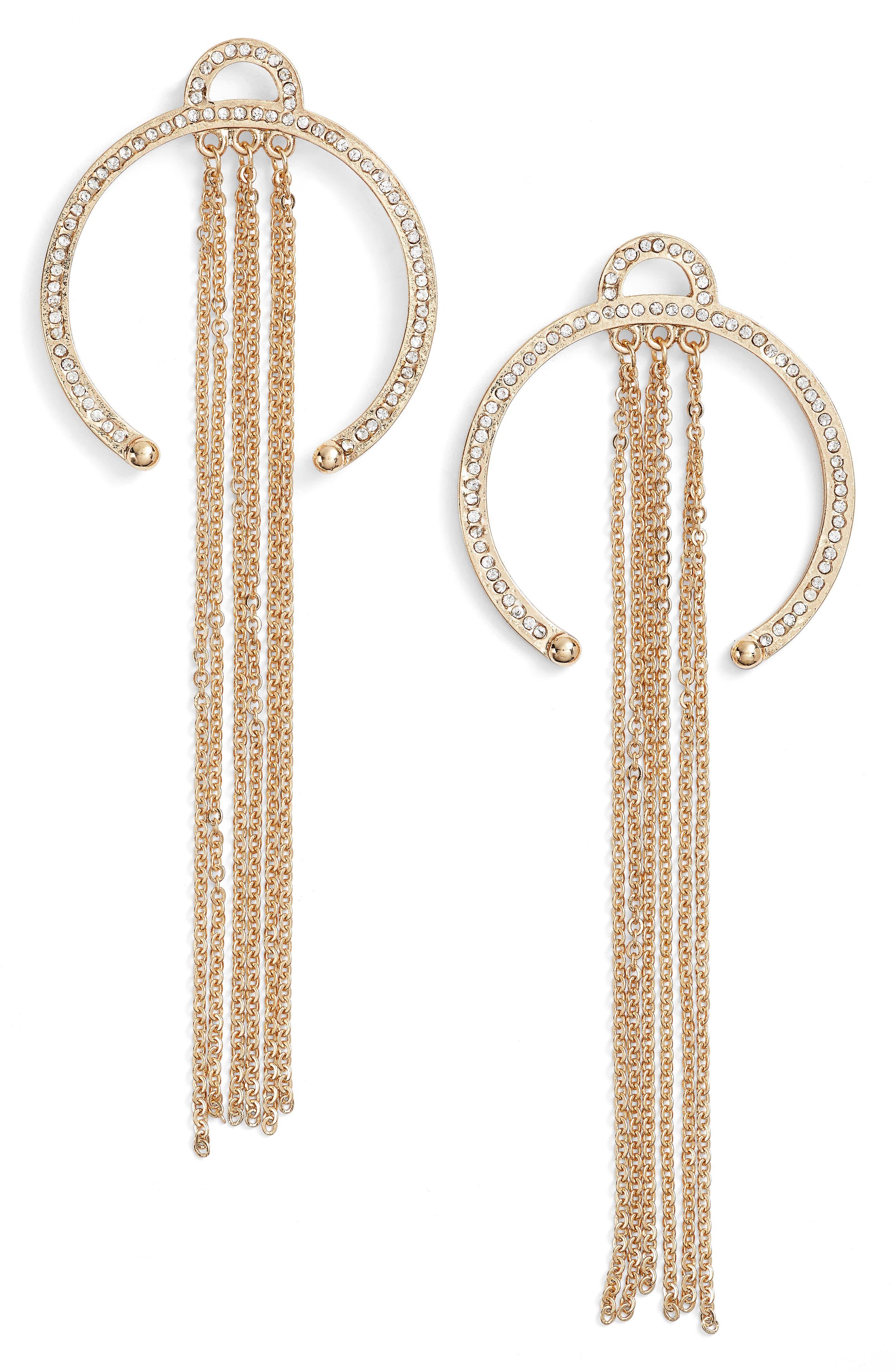 Open Hoop Drop Earrings,                         Main,                         color, Gold