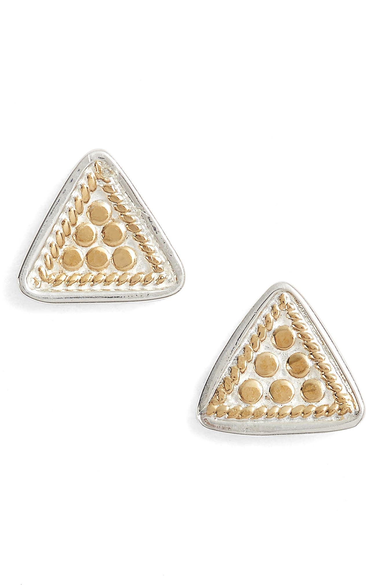 Mini Triangle Stud Earrings,                             Main thumbnail 1, color,                             Gold