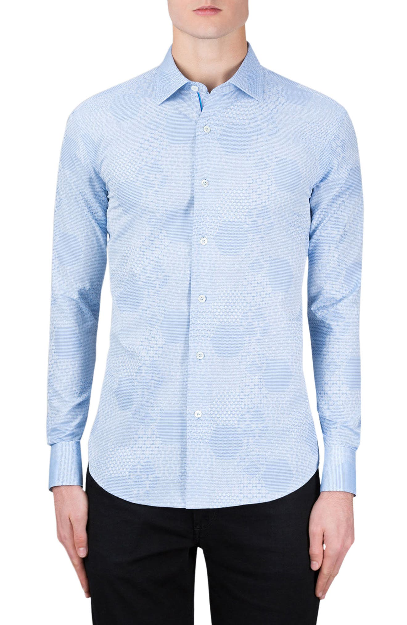 BUGATCHI Shaped Fit Textured Sport Shirt