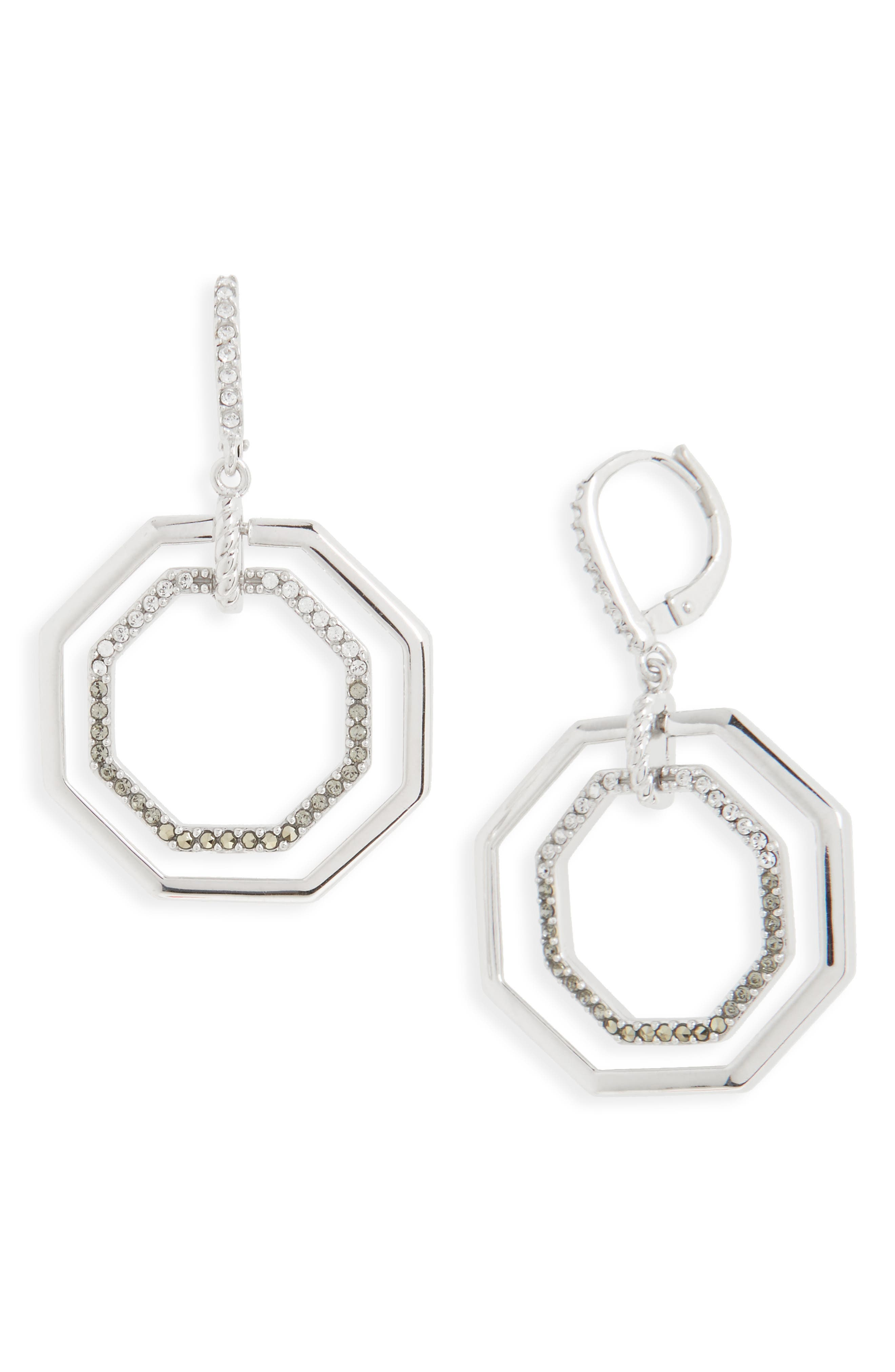 Paradise Open Drop Earrings,                         Main,                         color, Black Diamond/ Marcasite