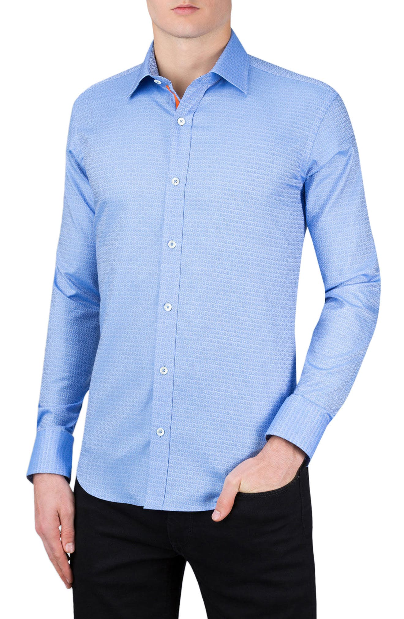 Shaped Fit Medallion Sport Shirt,                         Main,                         color, Air Blue
