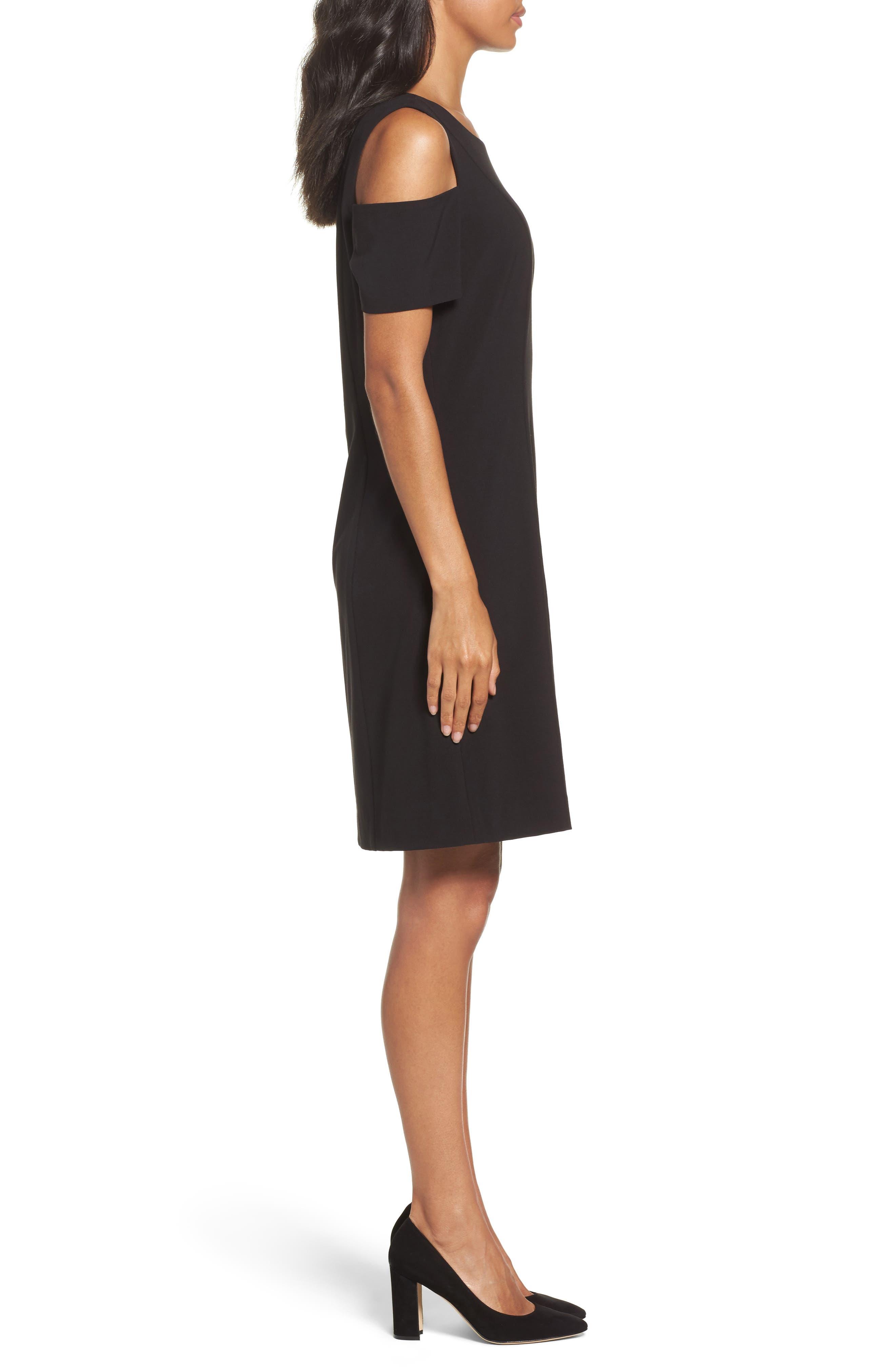 Cold Shoulder Sheath Dress,                             Alternate thumbnail 3, color,                             Black