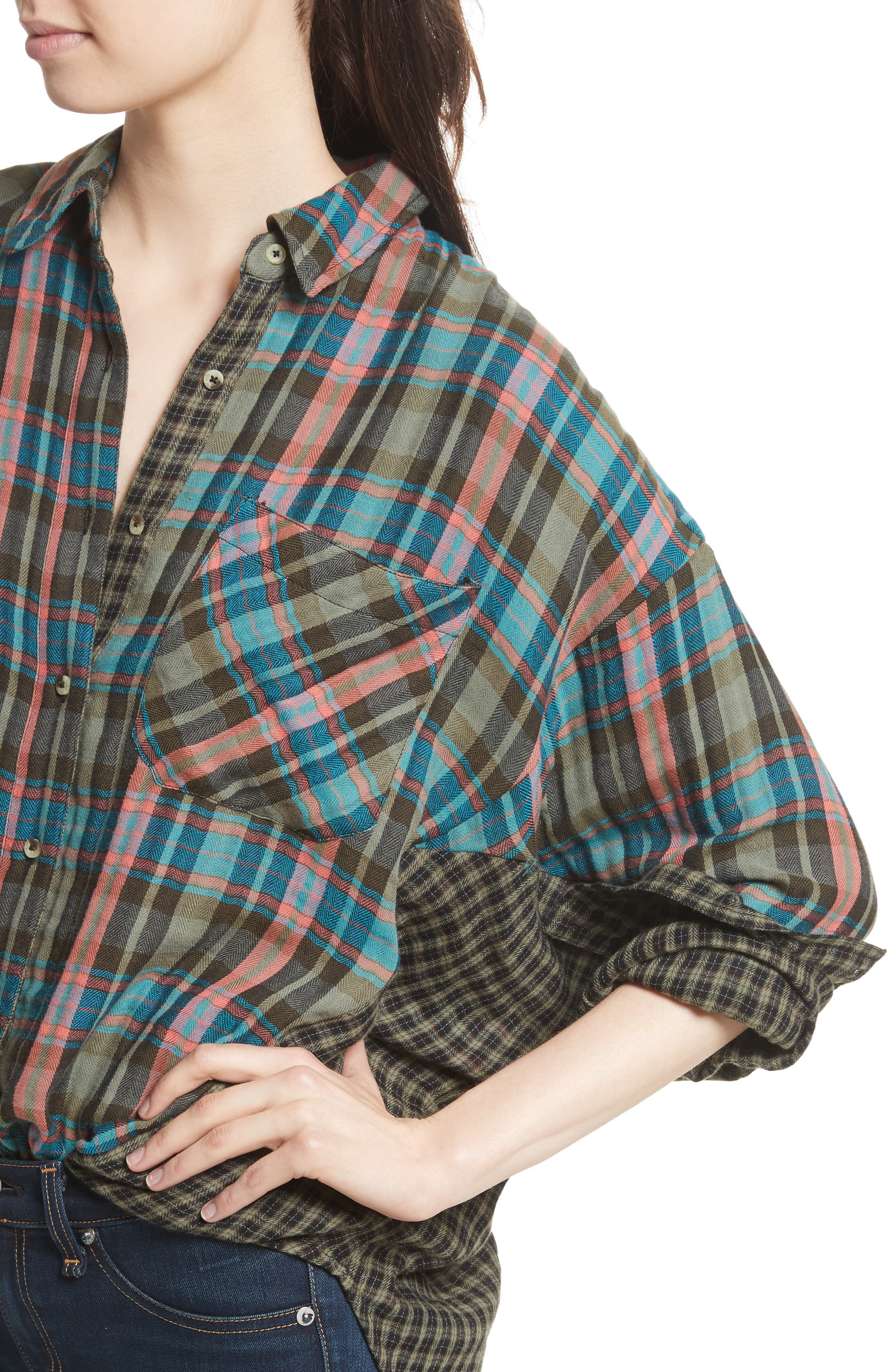 One of the Guys Plaid Shirt,                             Alternate thumbnail 4, color,                             Green Combo
