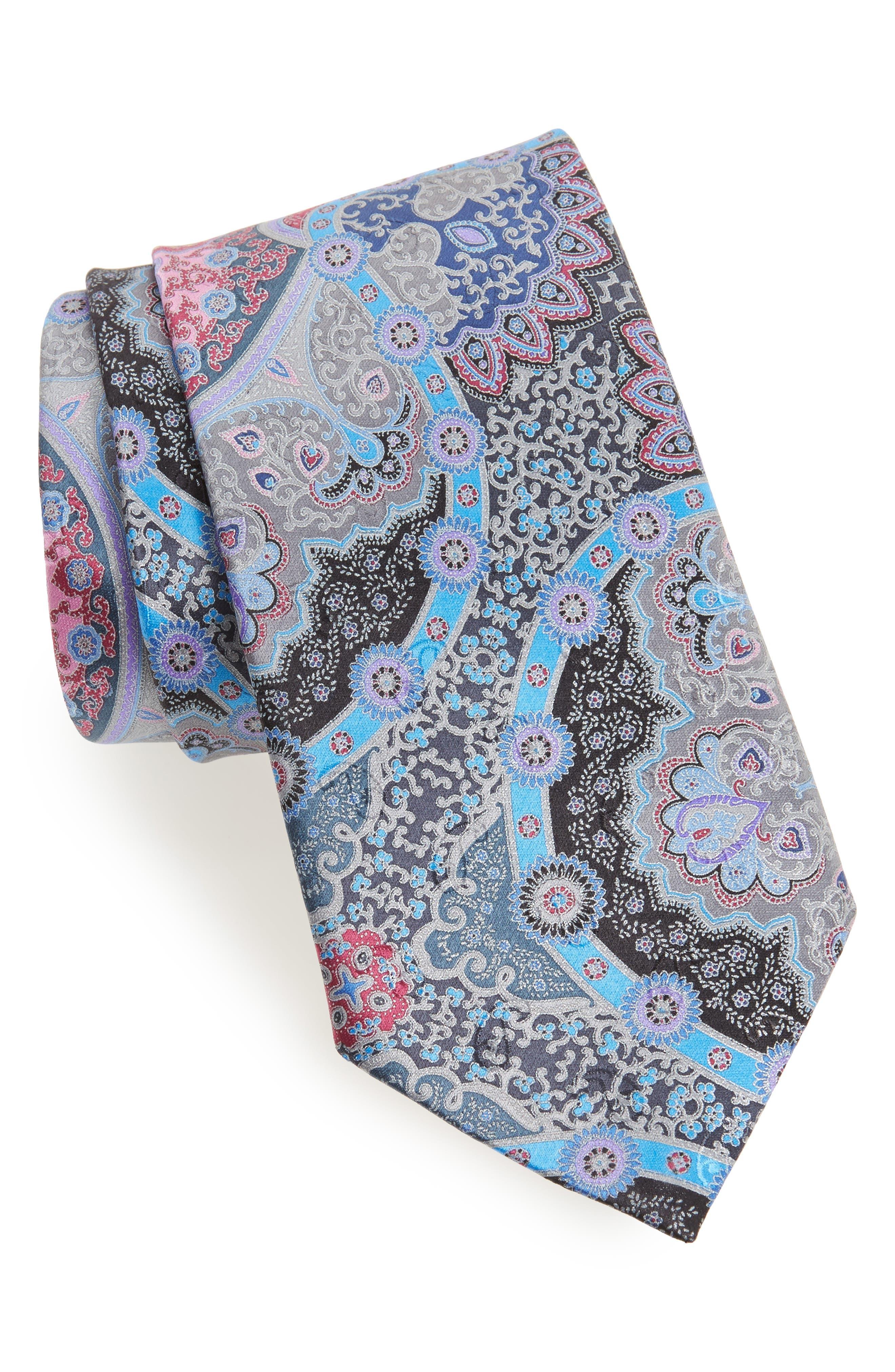 Quindici Paisley Silk Tie,                         Main,                         color, Medium Grey Fan