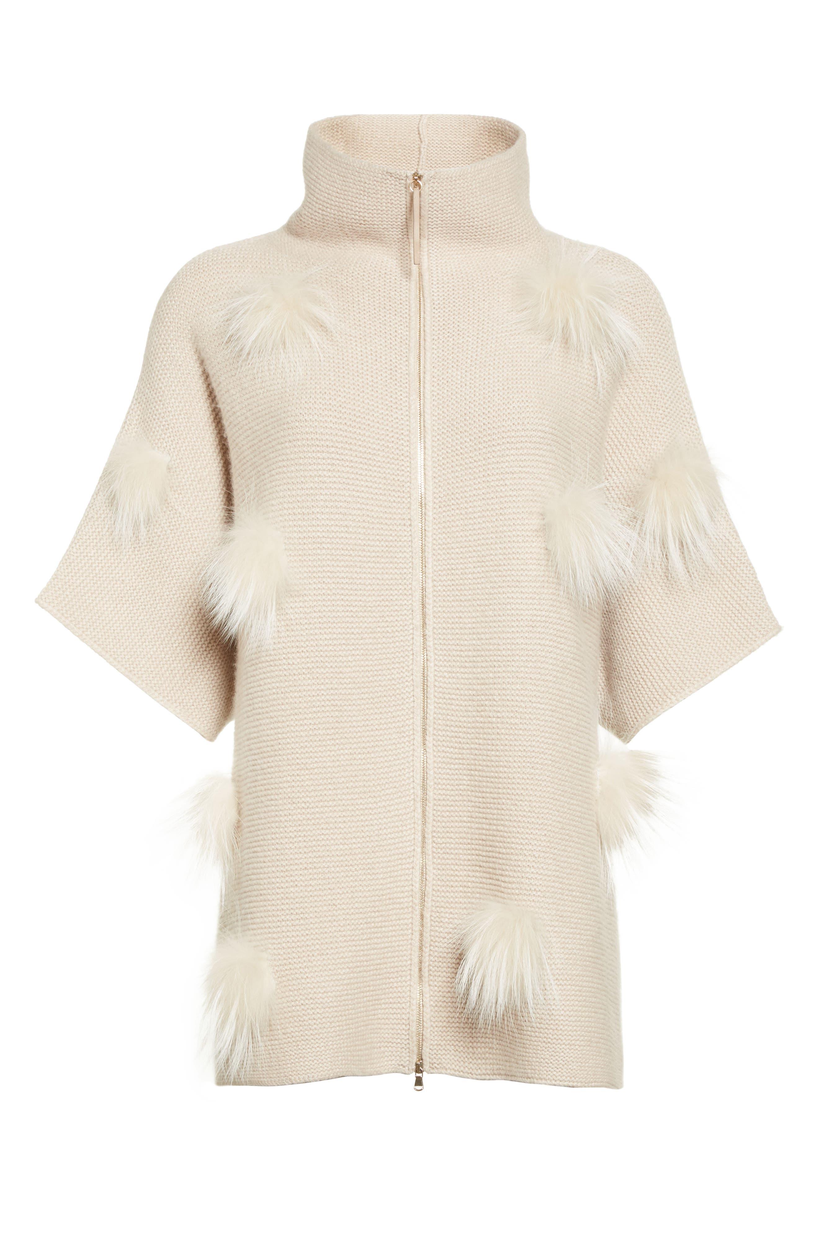 Alternate Image 6  - Fabiana Filippi Micro Braid Cashmere Zip Cardigan with Genuine Fox Fur Trim