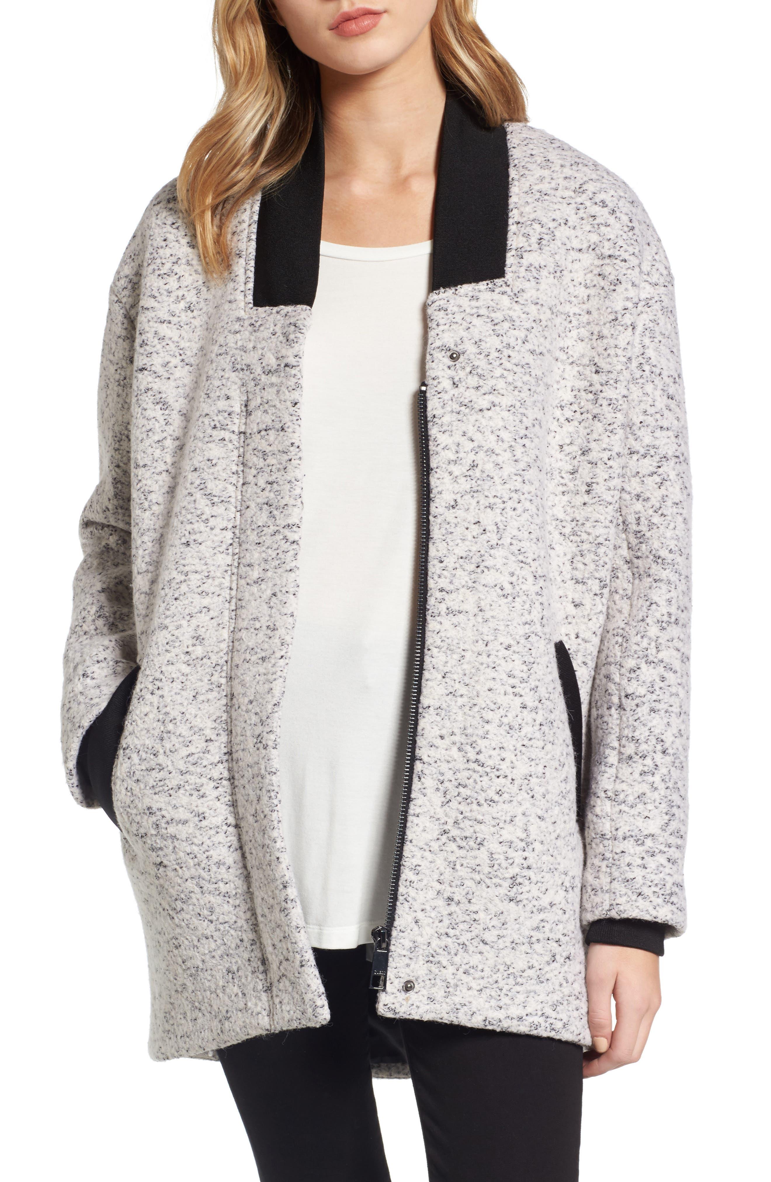 Oversize Bouclé Jacket,                         Main,                         color, Grey