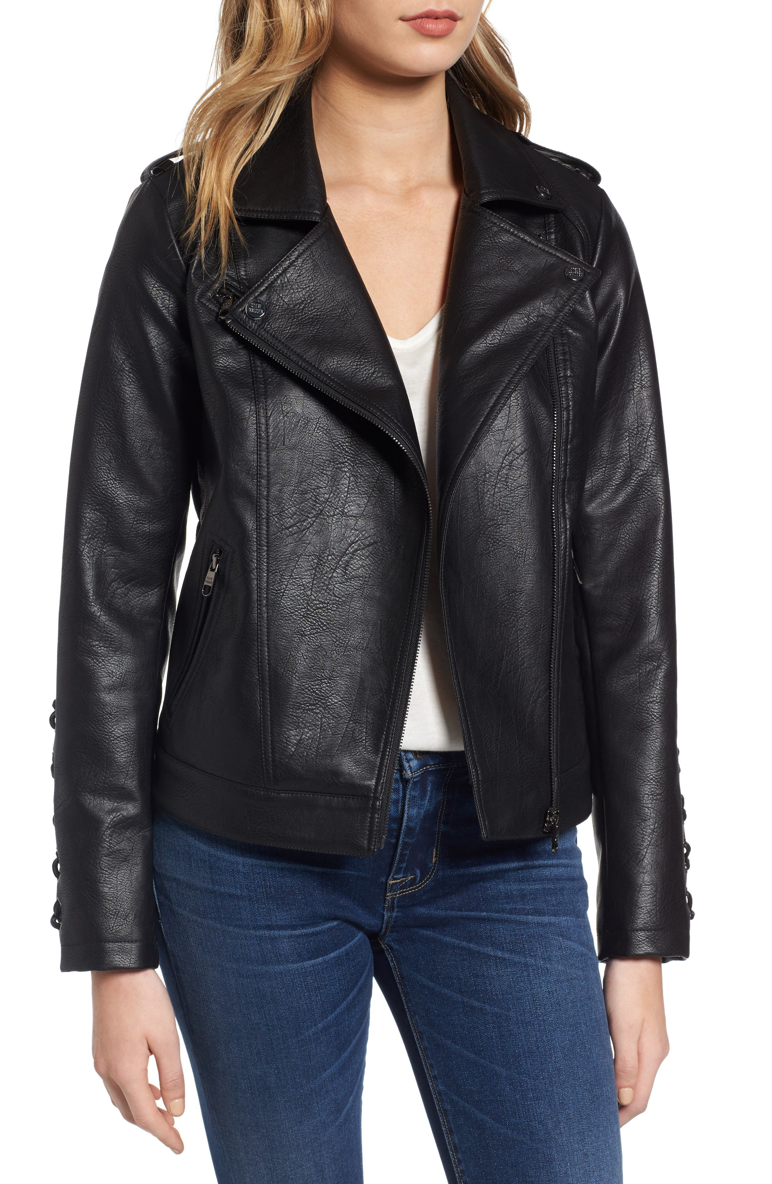Lace Detail Faux Leather Biker Jacket,                             Main thumbnail 1, color,                             Black