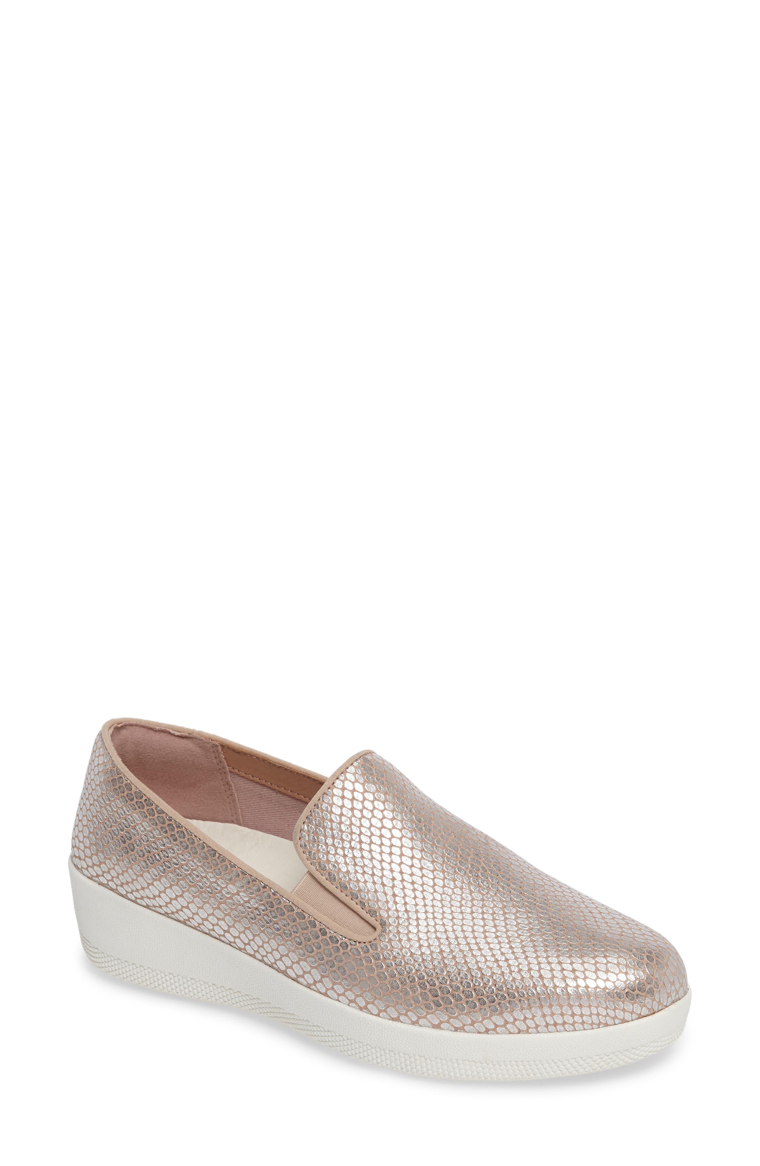 Superskate Slip-On Sneaker,                         Main,                         color, Silver Snake Suede