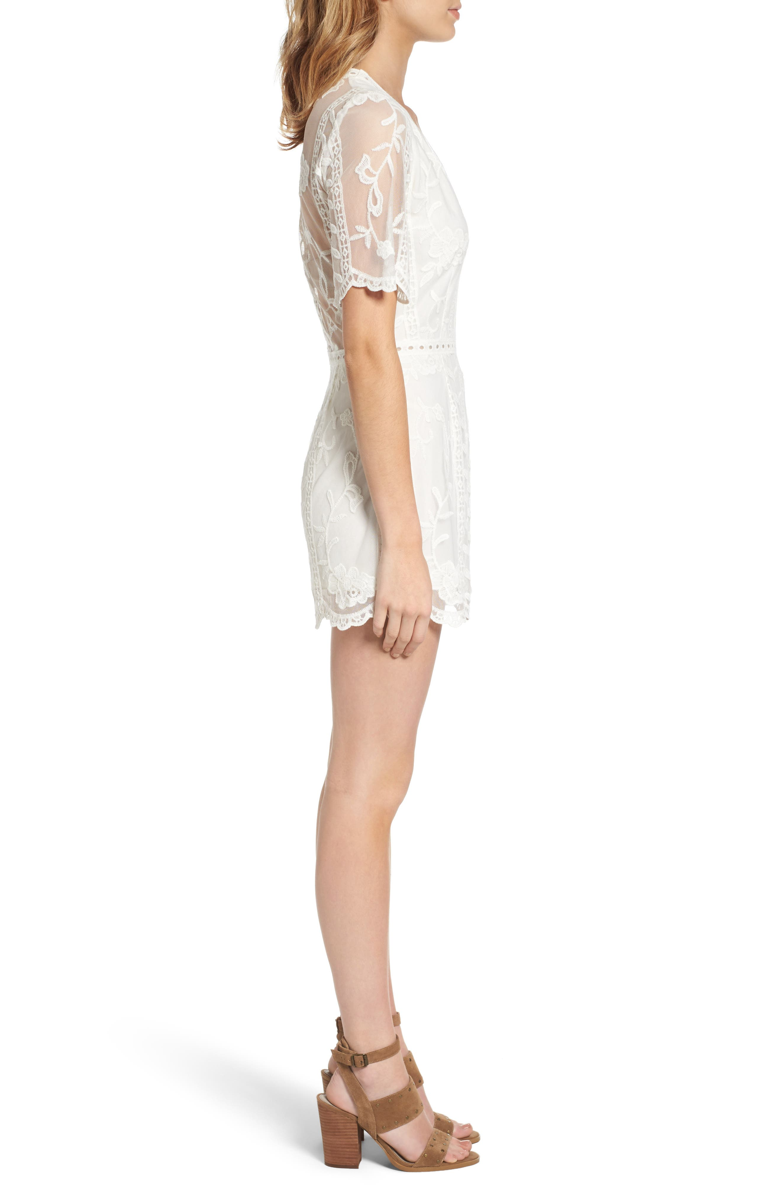 Plunging Lace Romper,                             Alternate thumbnail 3, color,                             Ivory