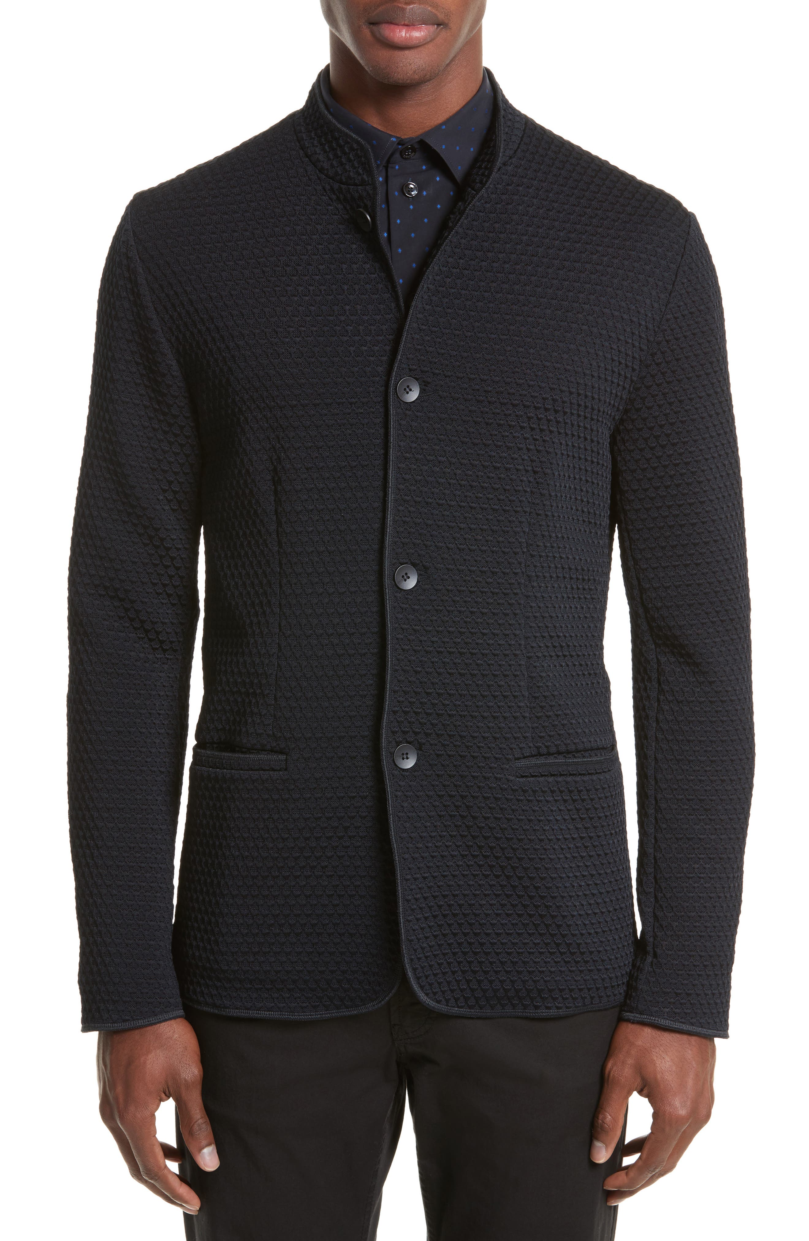 Alternate Image 1 Selected - Armani Collezioni Jacquard Button Front Sweater