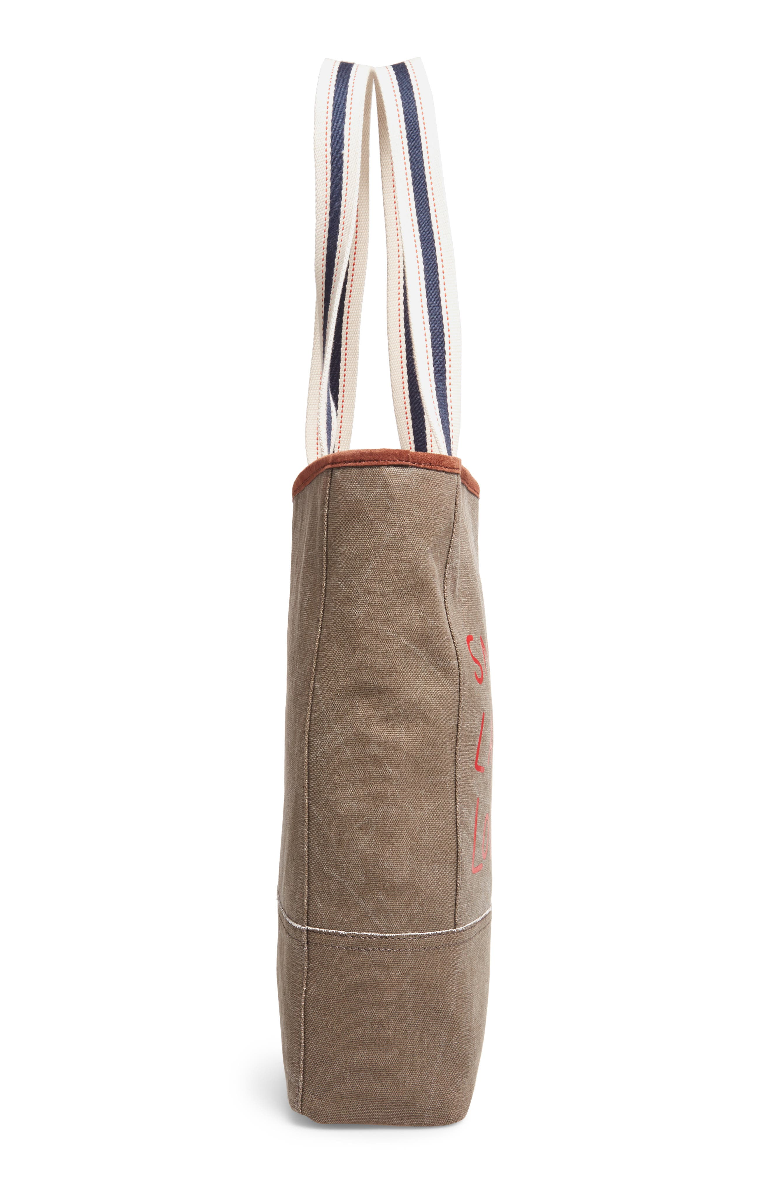 Dakin Canvas & Leather Tote,                             Alternate thumbnail 4, color,                             Lichen/ Dark Umber