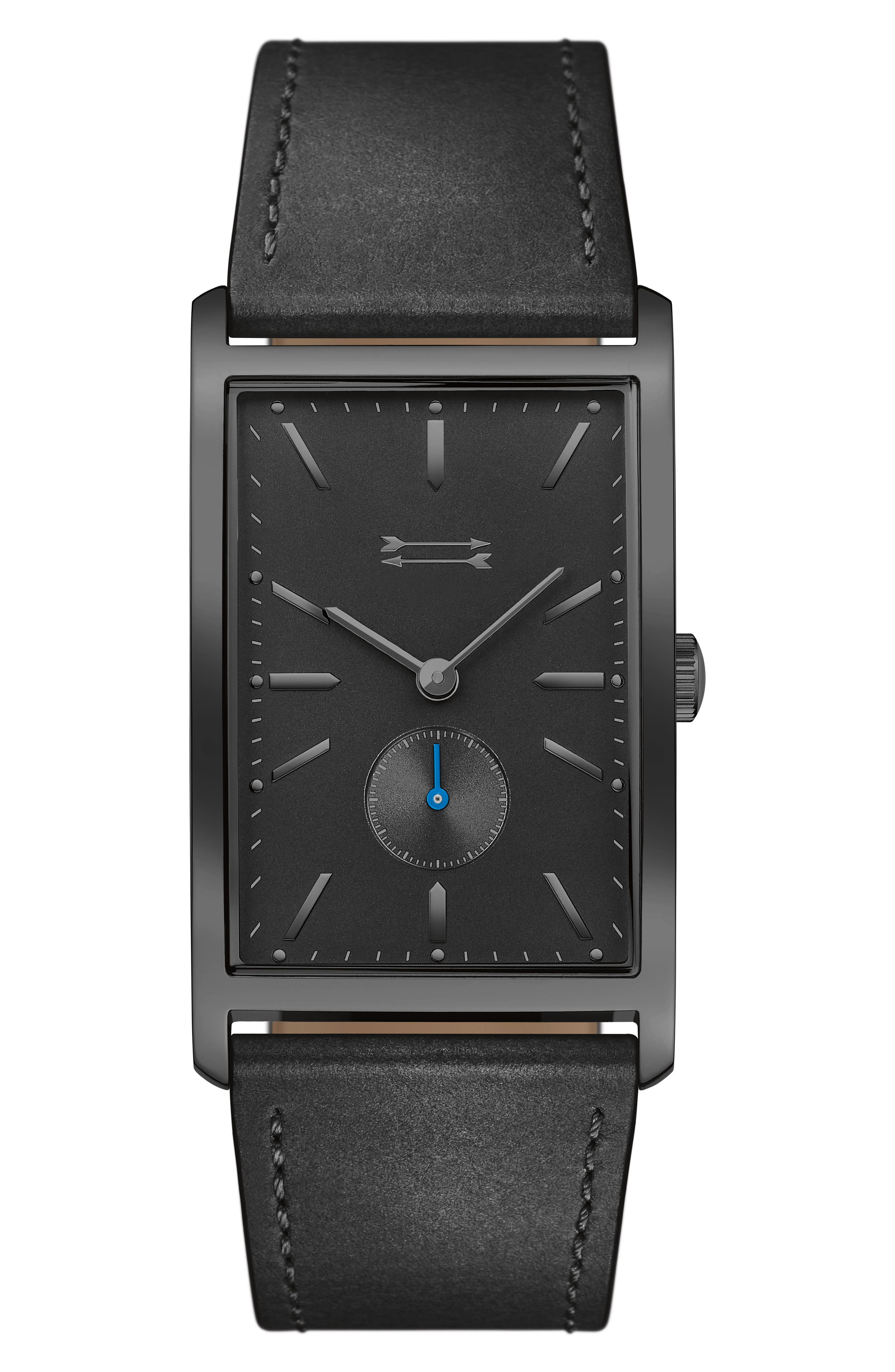 Pesaro Leather Strap Watch, 27mm,                         Main,                         color, Black