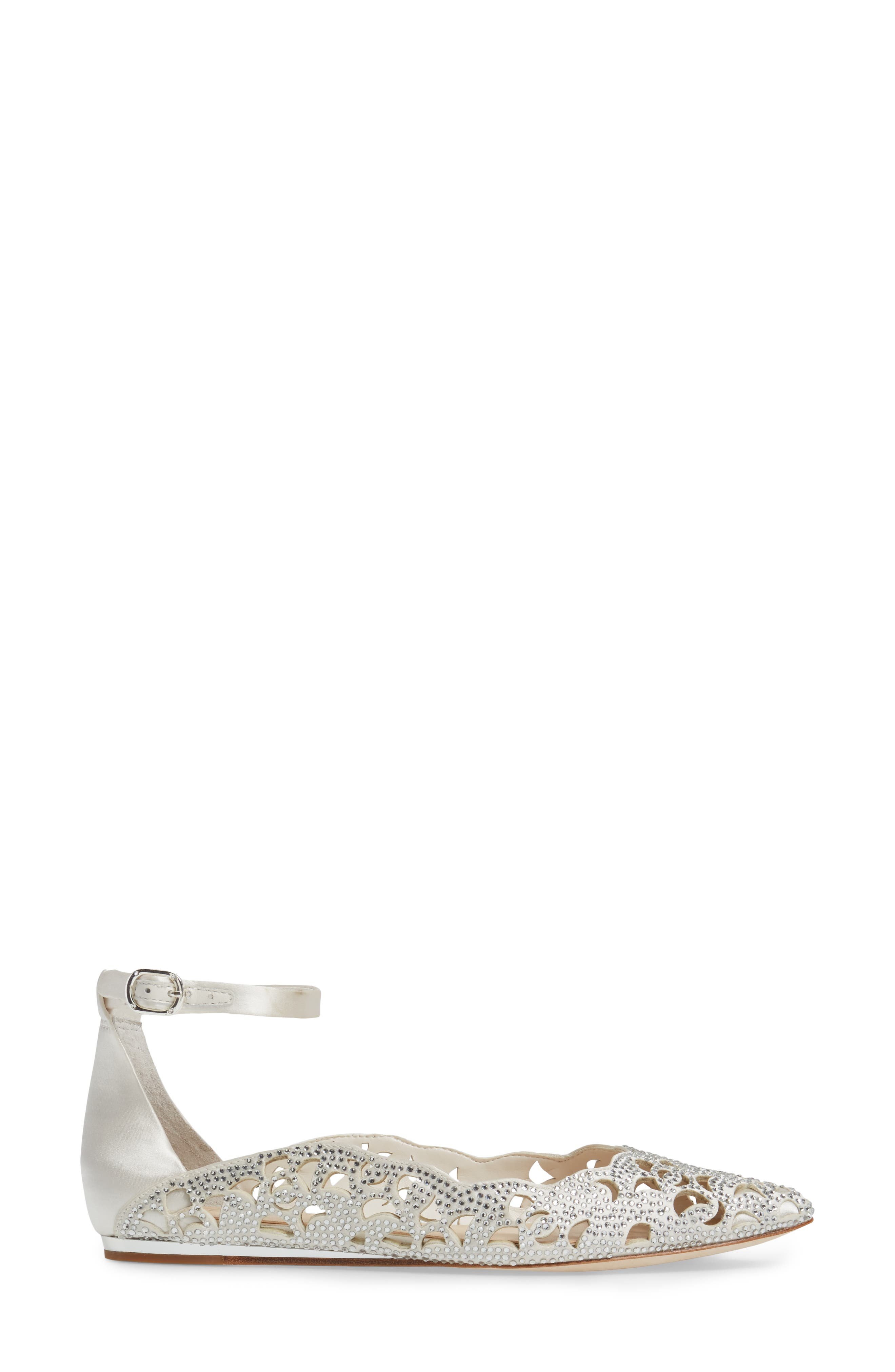Garyn Ankle Strap Flat,                             Alternate thumbnail 3, color,                             Ivory Satin