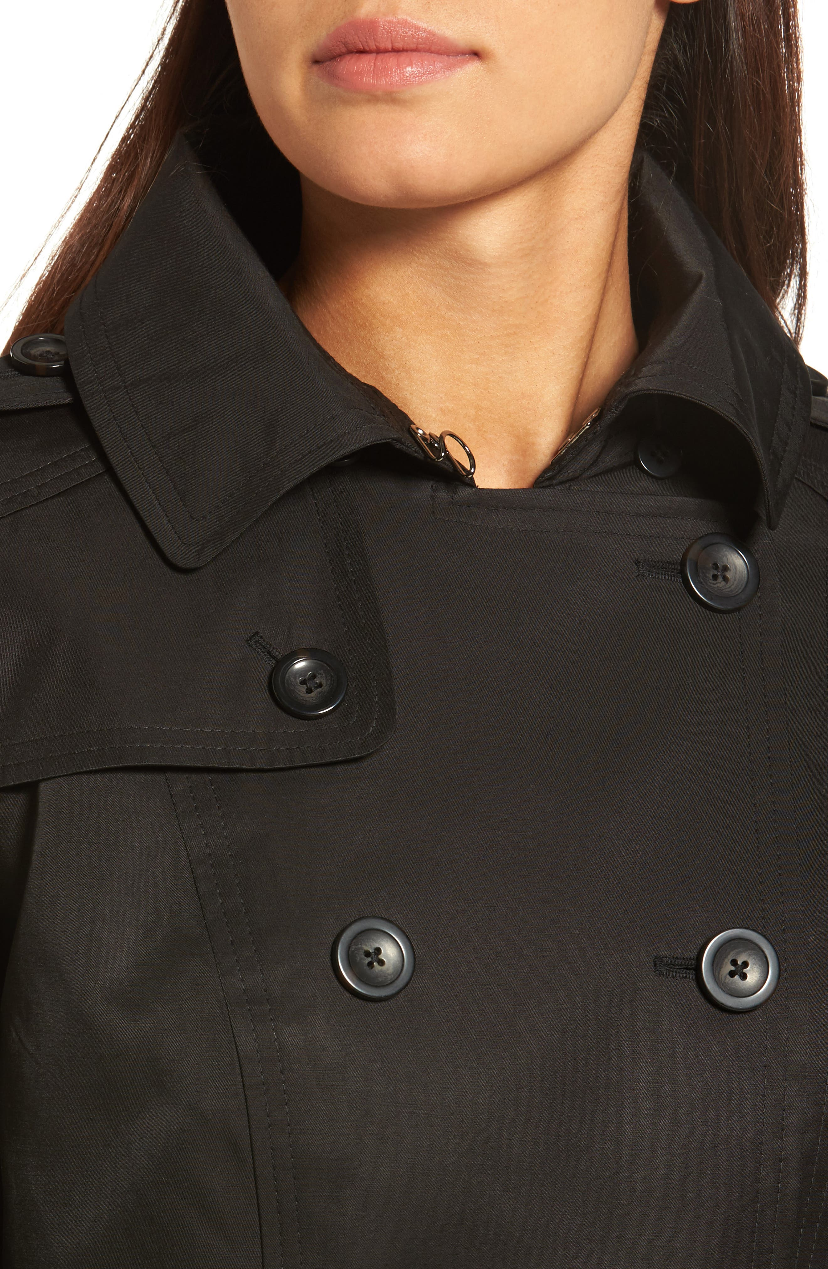 Hooded Double Breasted Long Trench Coat,                             Alternate thumbnail 4, color,                             Black