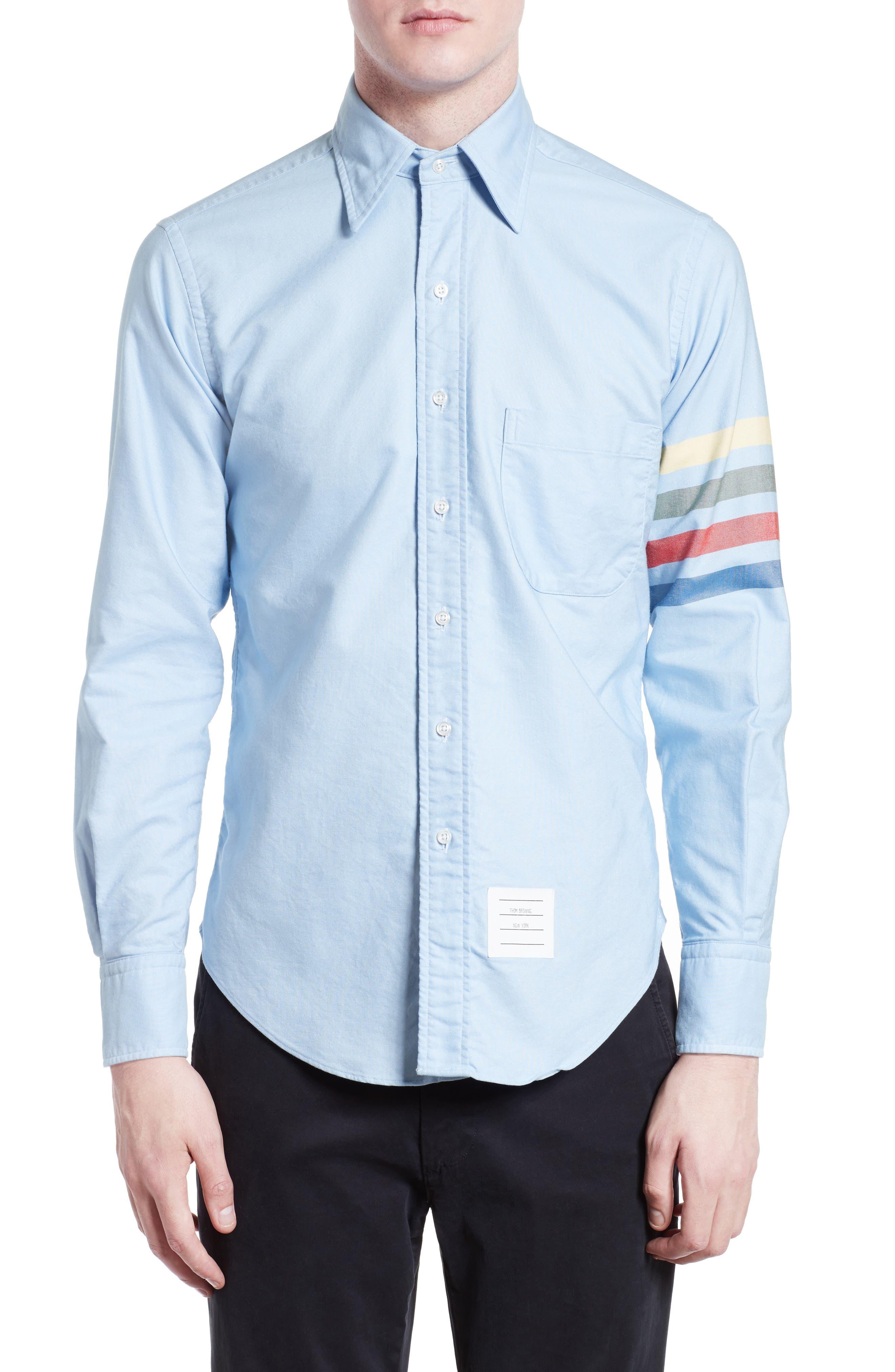 Thom Browne Trim Fit Rainbow Sleeve Sport Shirt
