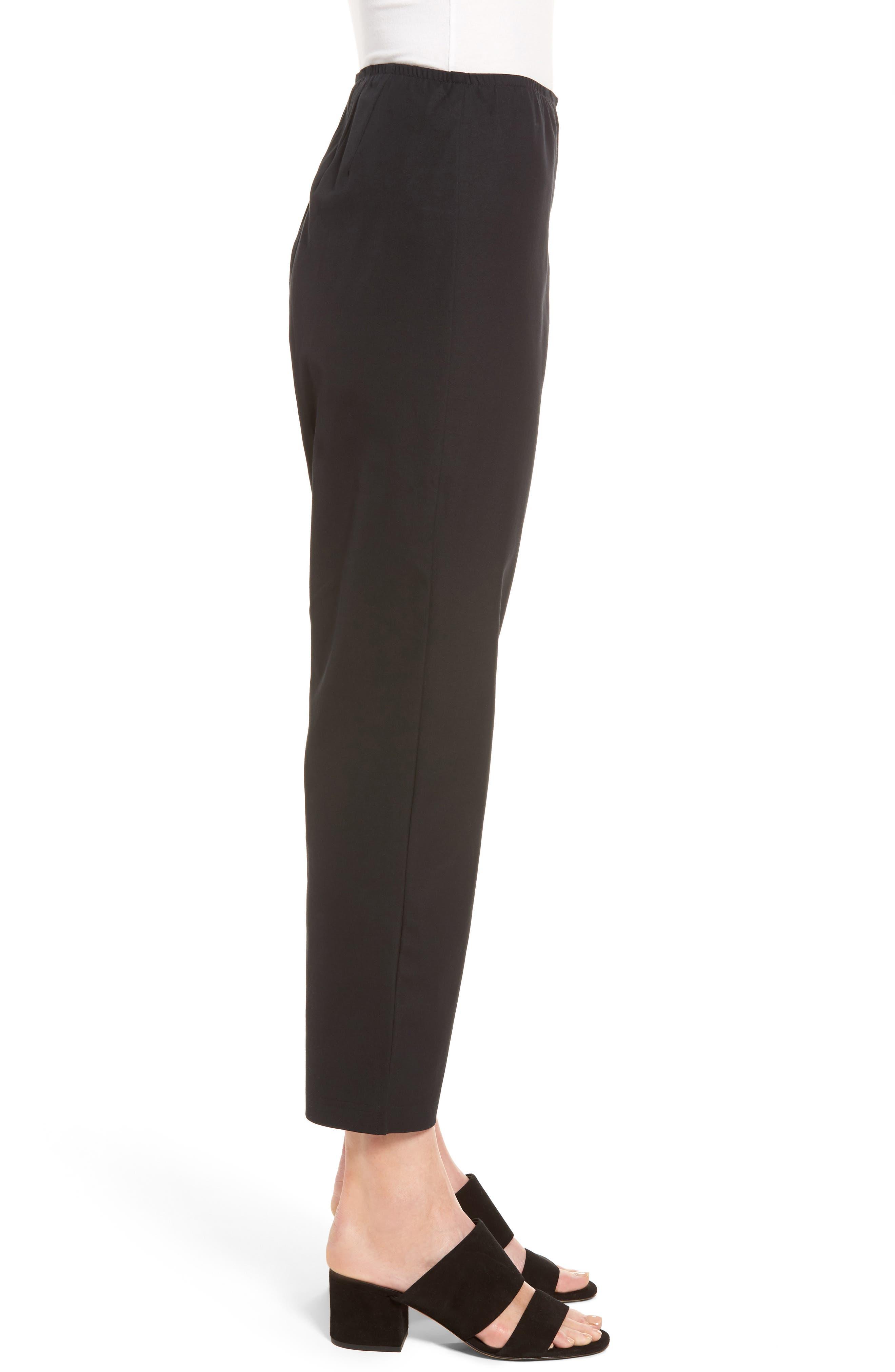Organic Stretch Cotton Twill Ankle Pants,                             Alternate thumbnail 4, color,                             Black