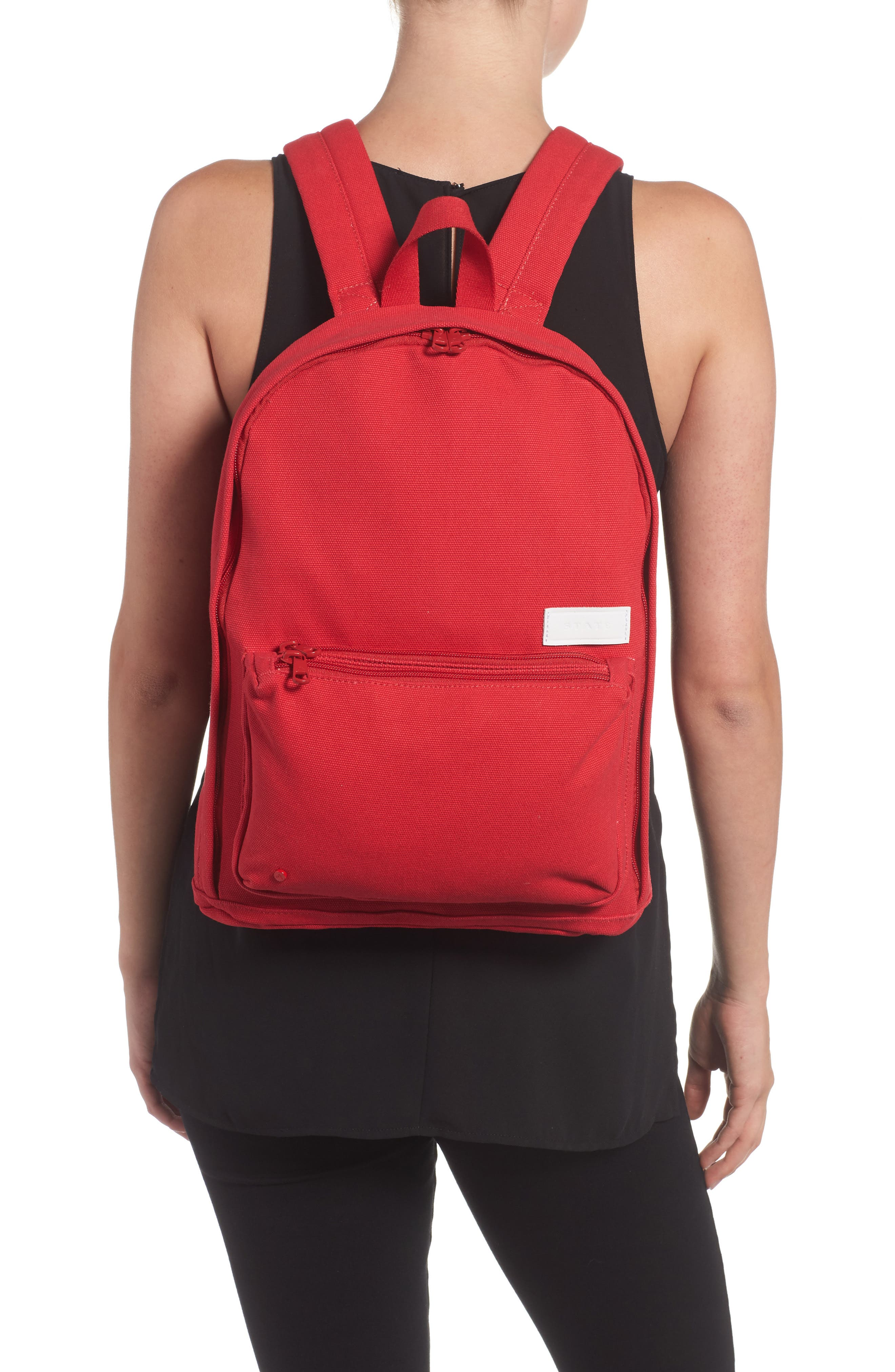 Slim Lorimer Water Resistant Canvas Backpack,                             Alternate thumbnail 2, color,                             Red