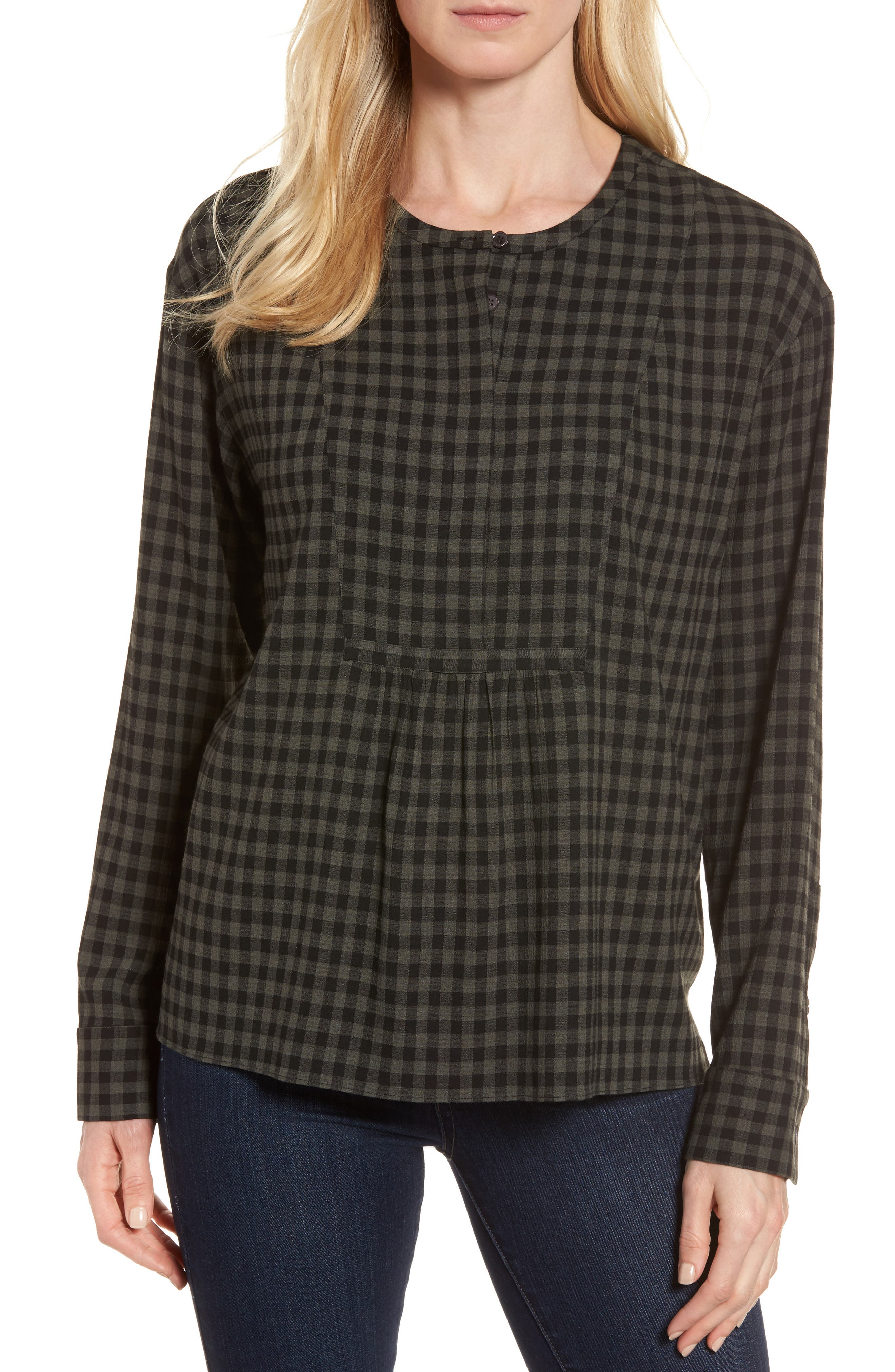 Main Image - Nordstrom Signature Gingham Check Blouse