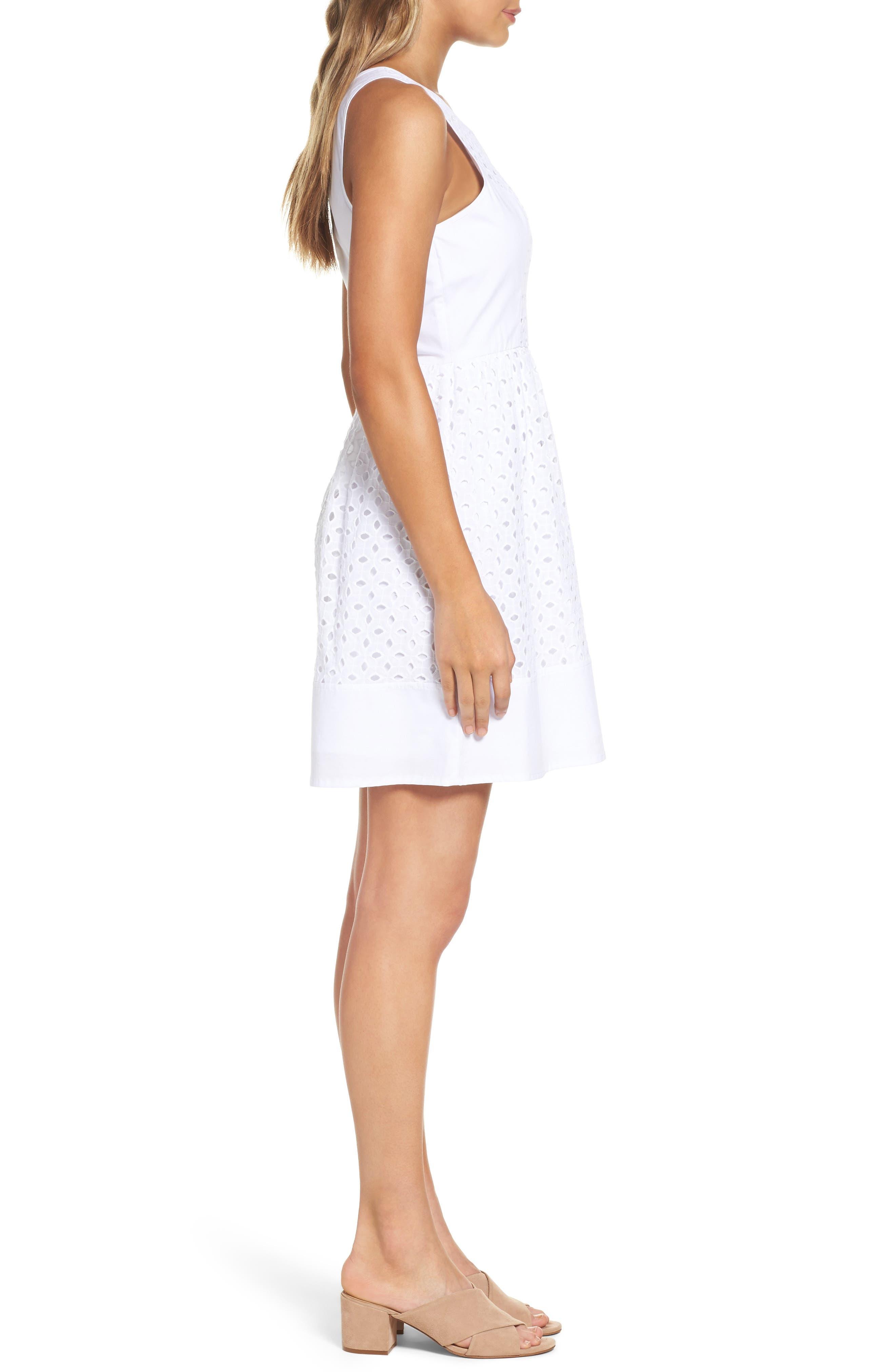 Eyelet Fit & Flare Dress,                             Alternate thumbnail 3, color,                             White
