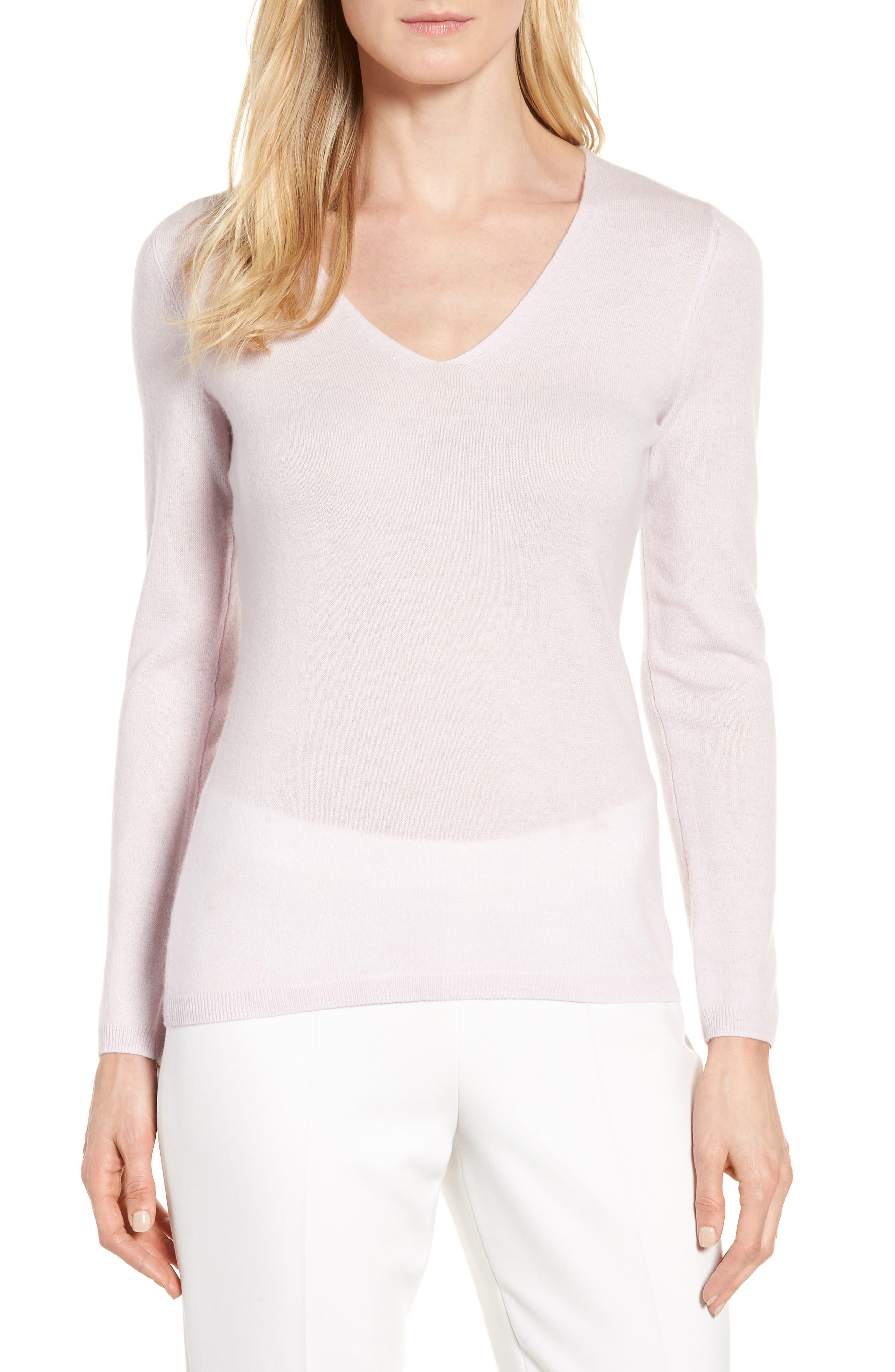 Stripe Cashmere Sweater,                         Main,                         color, Purple Moss