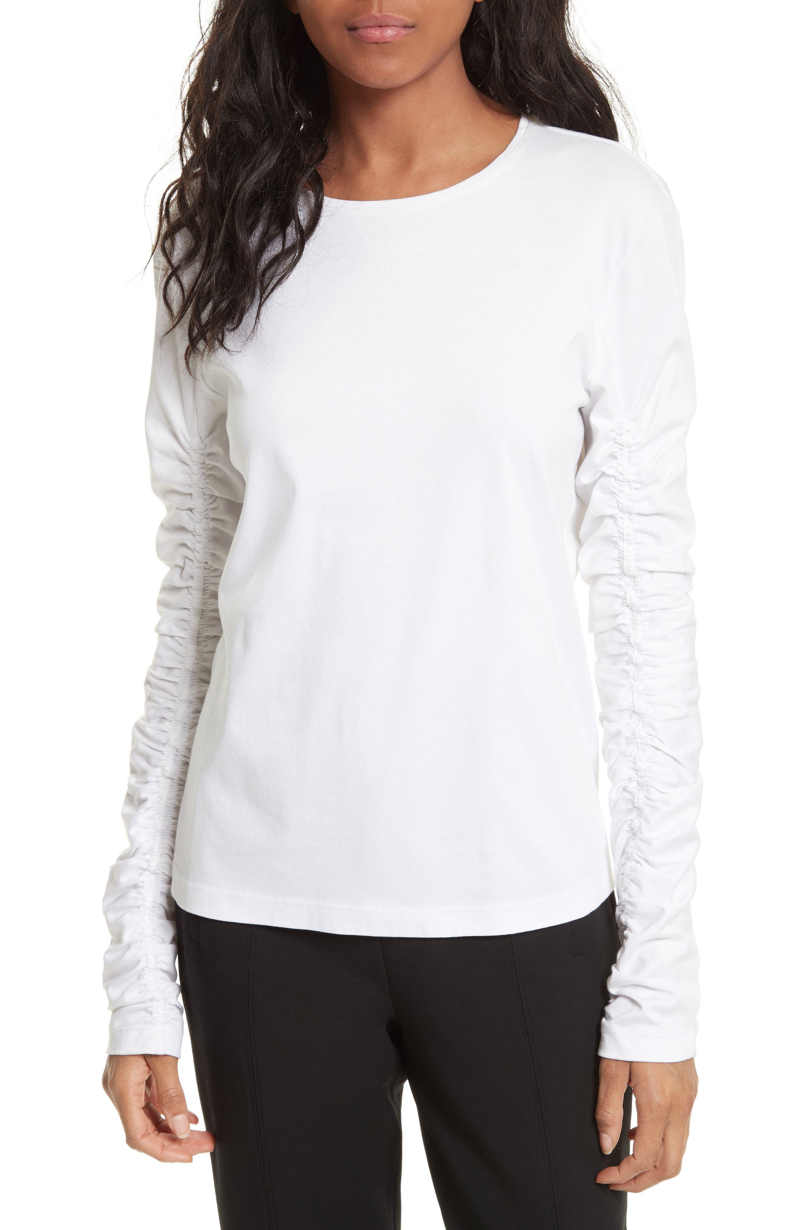 Long Sleeve Mercerized Cotton Tee,                         Main,                         color, White