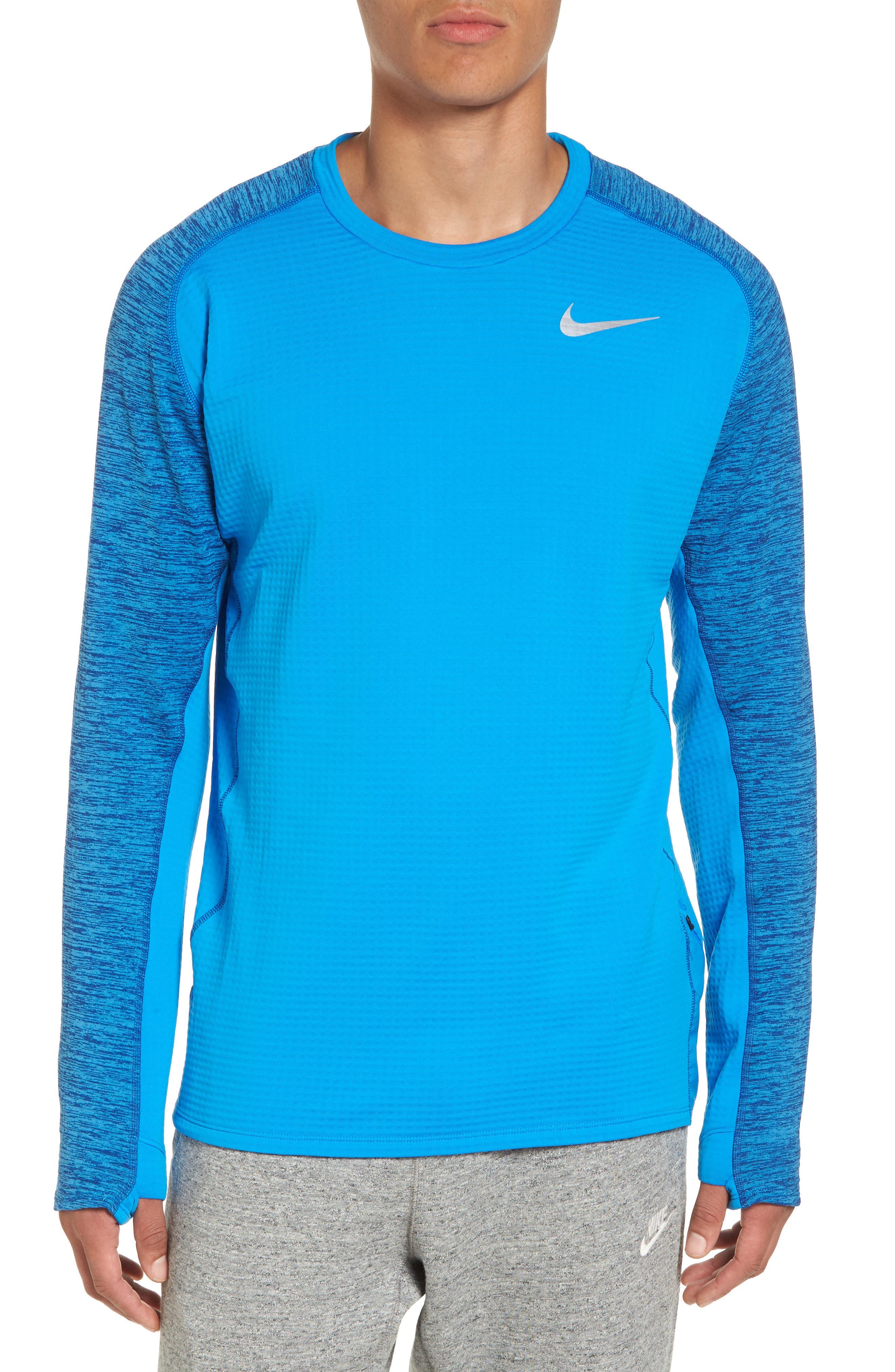 ThermaSphere Long Sleeve Running T-Shirt,                             Main thumbnail 1, color,                             Binary Blue/ Purple/ Heather