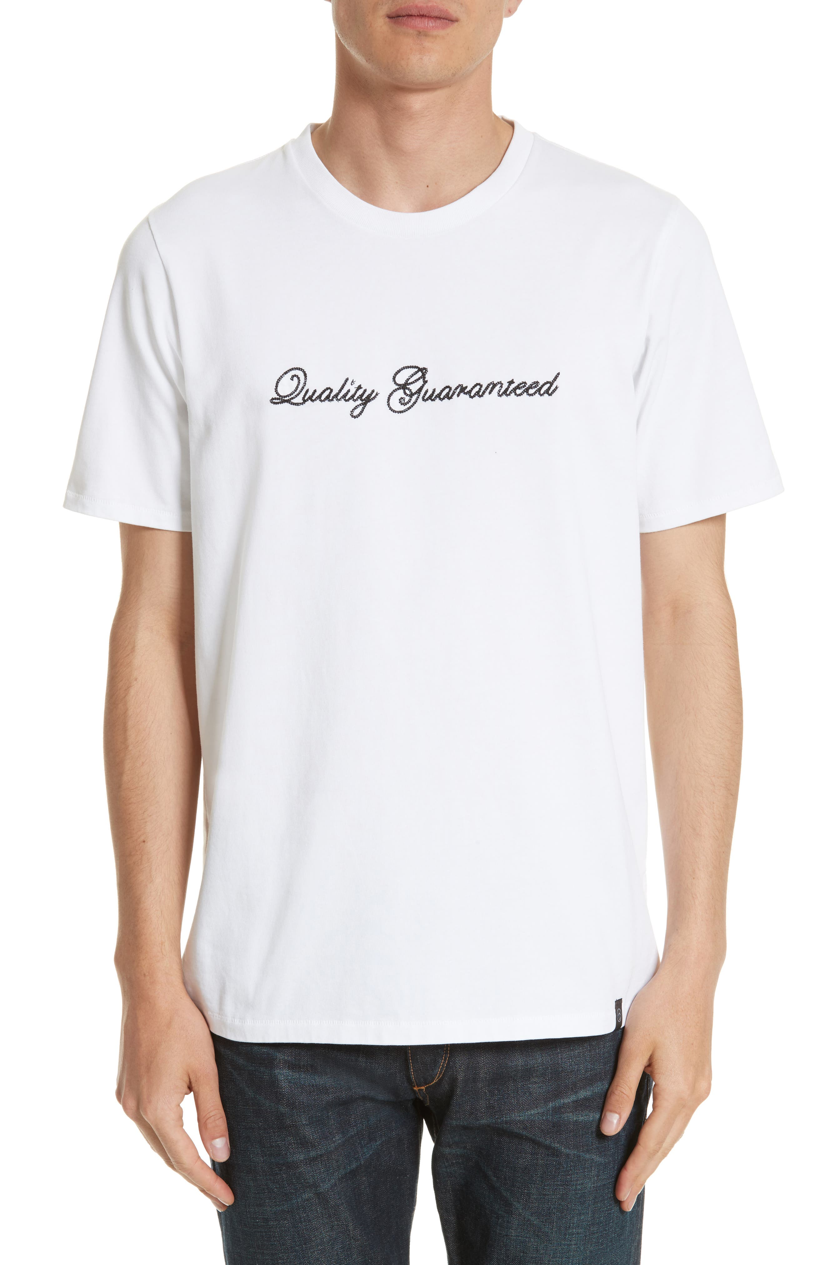 Quality Guaranteed Embroidered T-Shirt,                             Main thumbnail 1, color,                             White