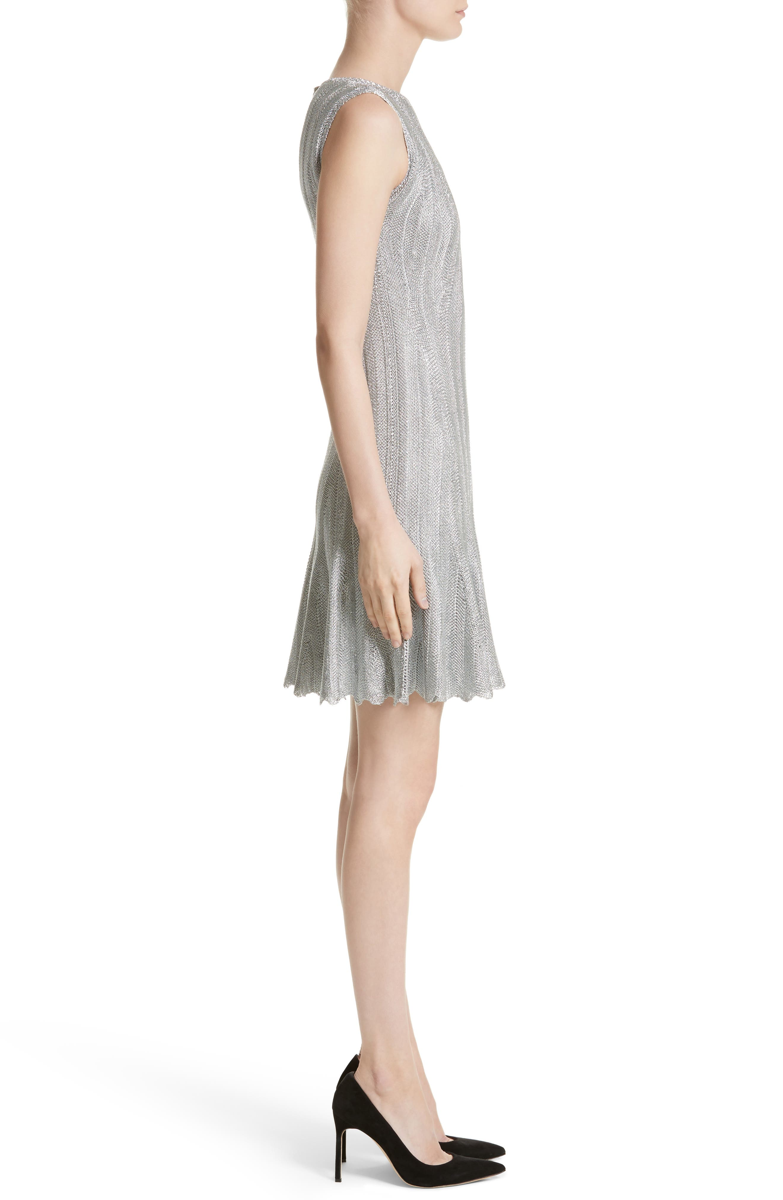 Metallic Knit Fit & Flare Dress,                             Alternate thumbnail 6, color,                             Silver Metallic