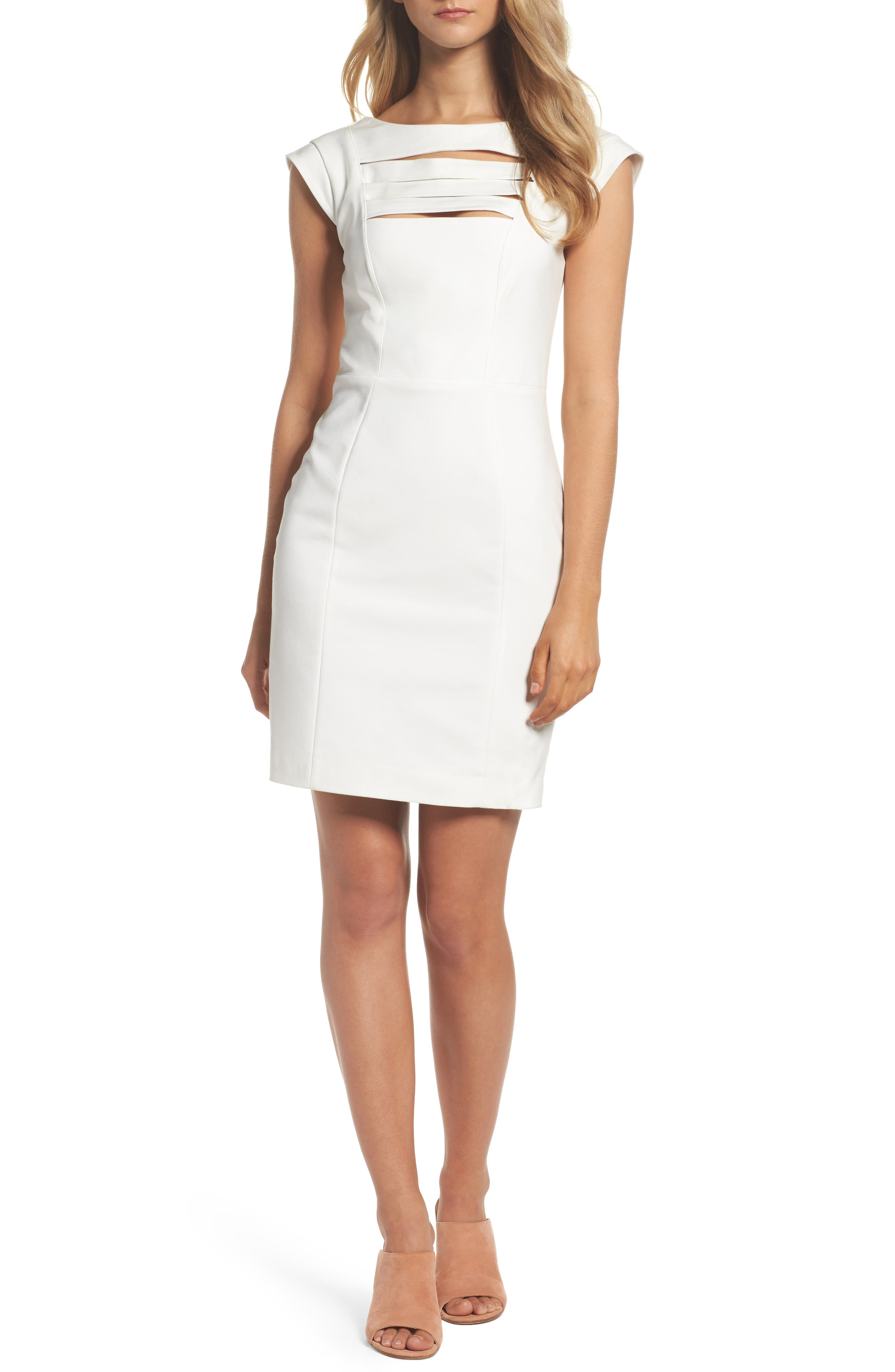 'Estelle' Bar Front Sheath Dress,                         Main,                         color, White