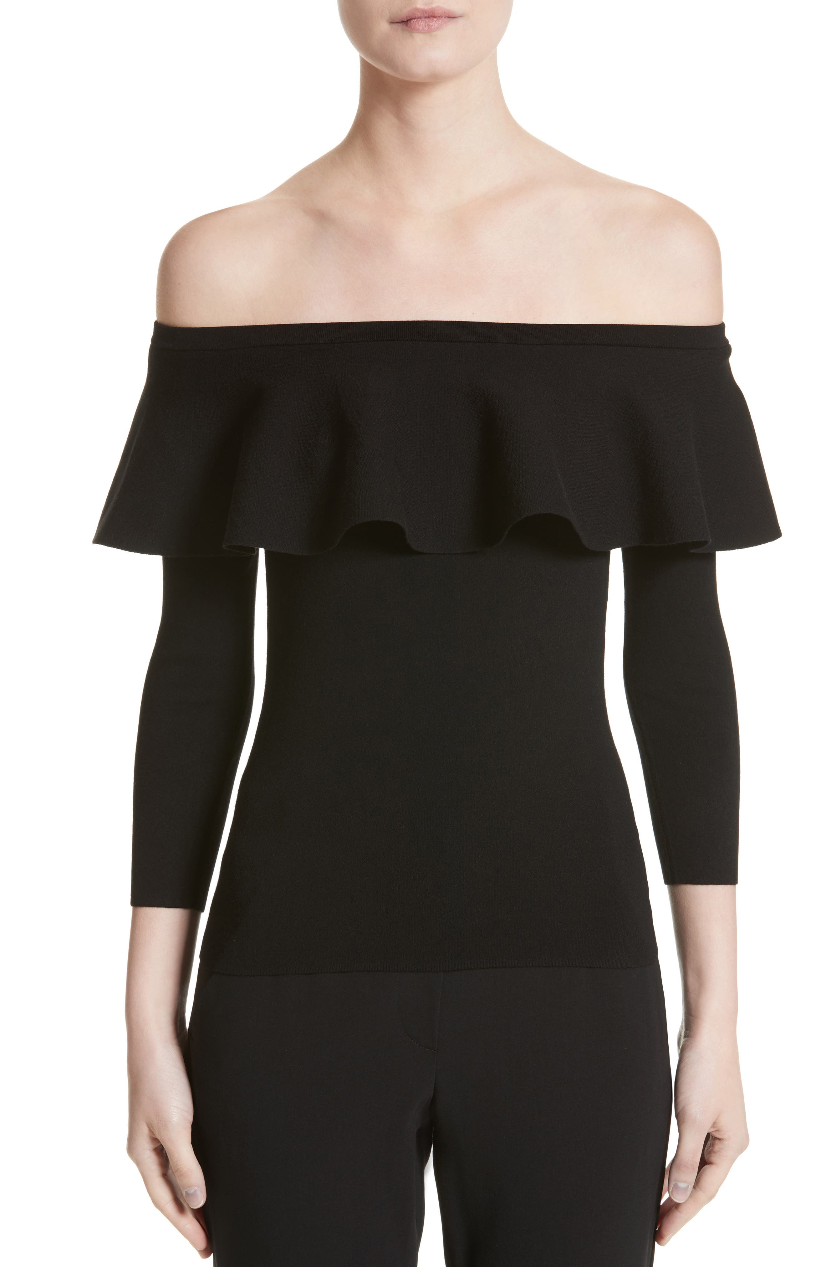 Off the Shoulder Sweater,                             Main thumbnail 1, color,                             Black