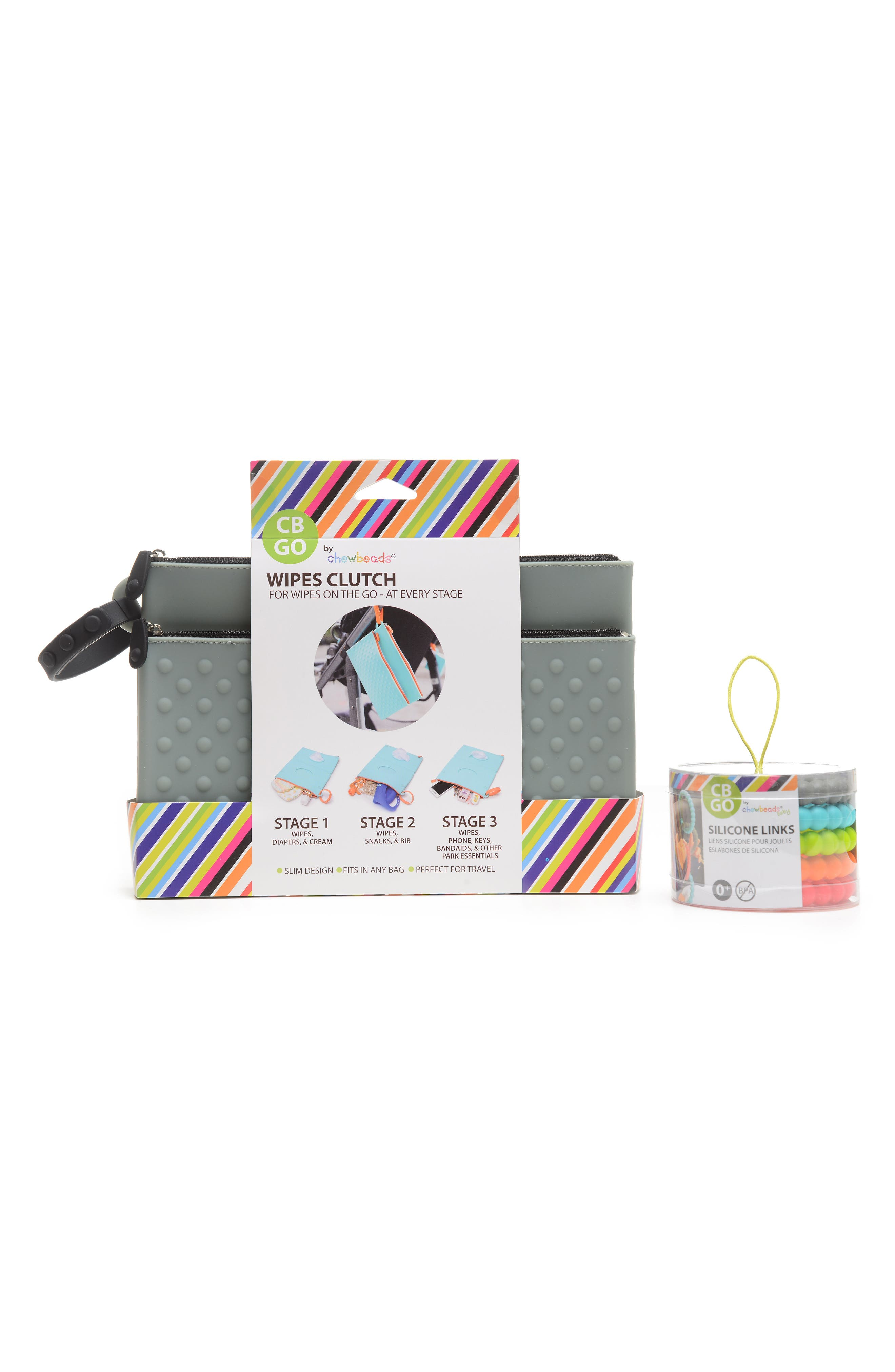 GO Wipes Case & Teething Links Set,                             Alternate thumbnail 2, color,                             Stormy Grey