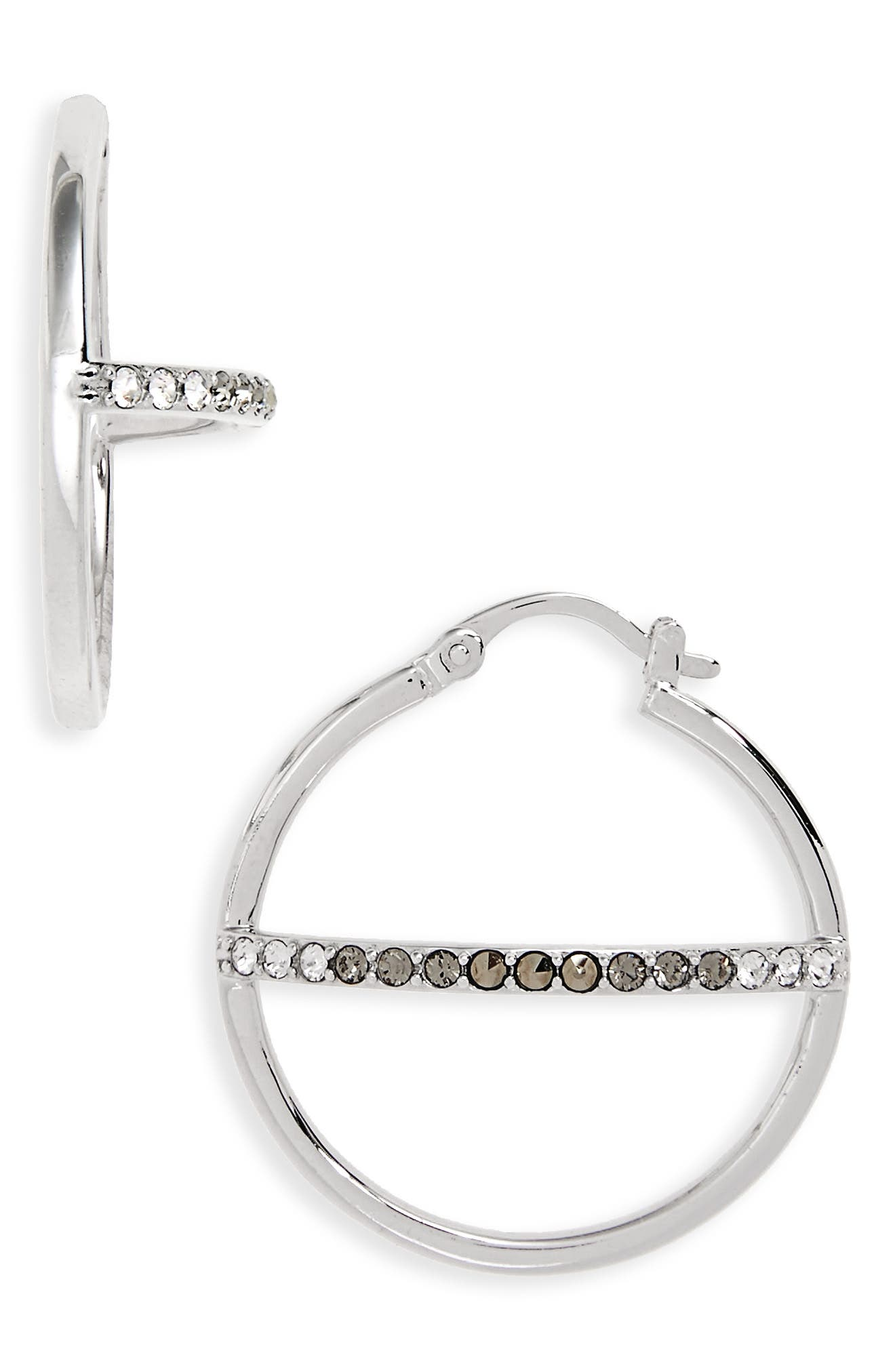 Silver Sparkle Hoop Earrings,                         Main,                         color, Black Diamond/ Marcasite