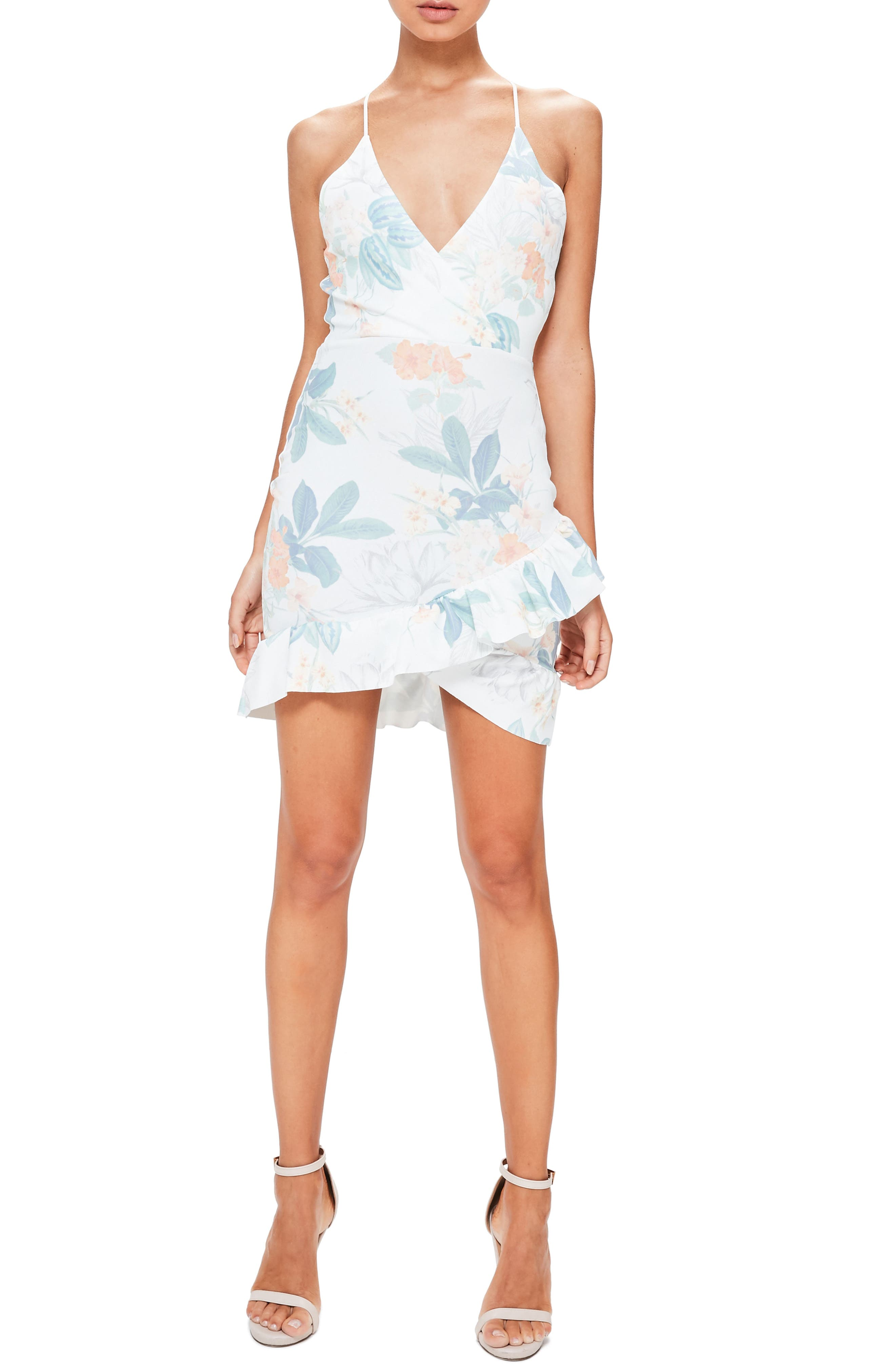 Ruffle Hem Dress,                         Main,                         color, White