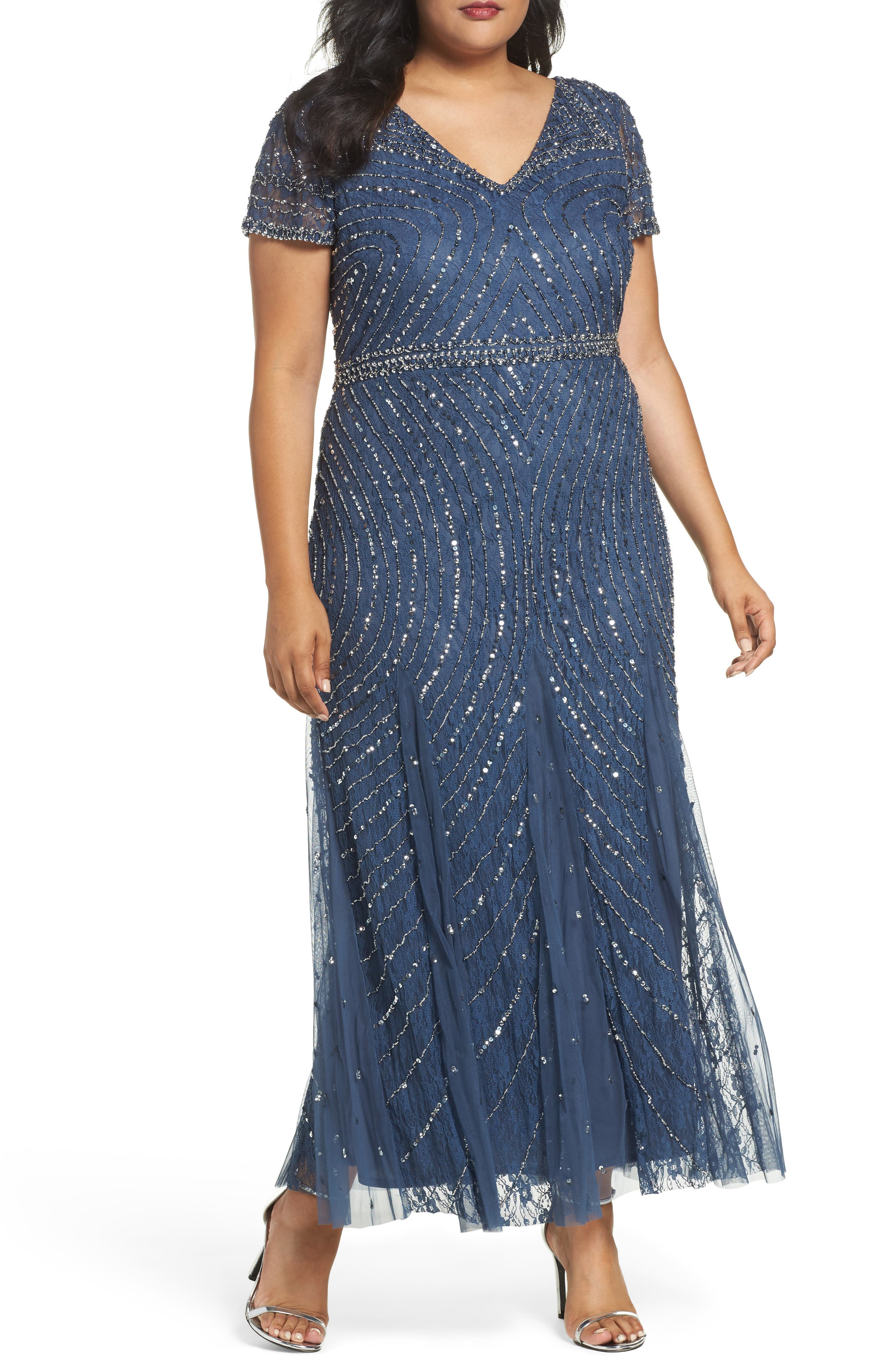 Pisarro Nights Sequin Lace A-Line Gown (Plus Size)