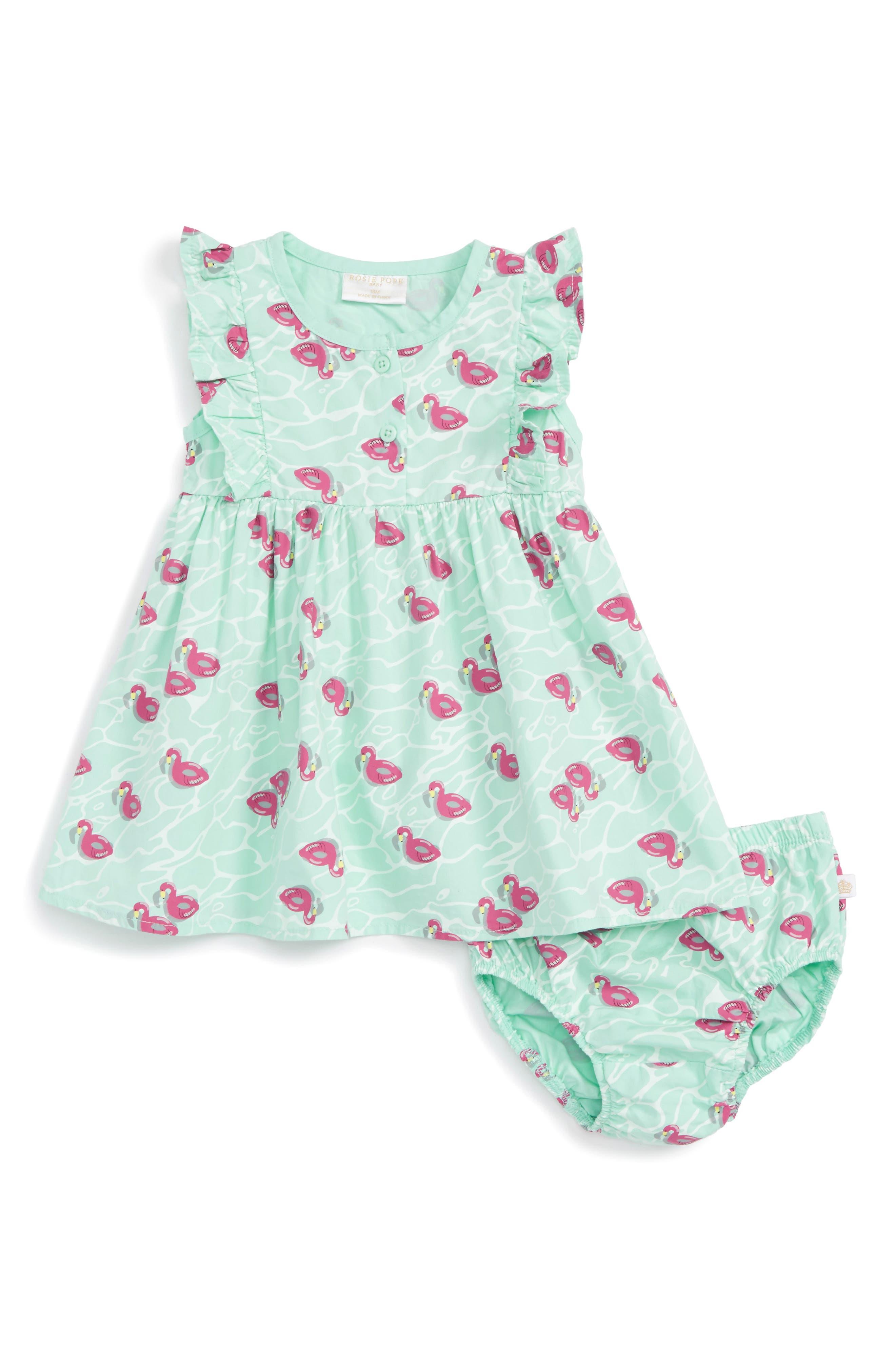 Alternate Image 1 Selected - Rosie Pope Flamingo Dress (Baby Girls)