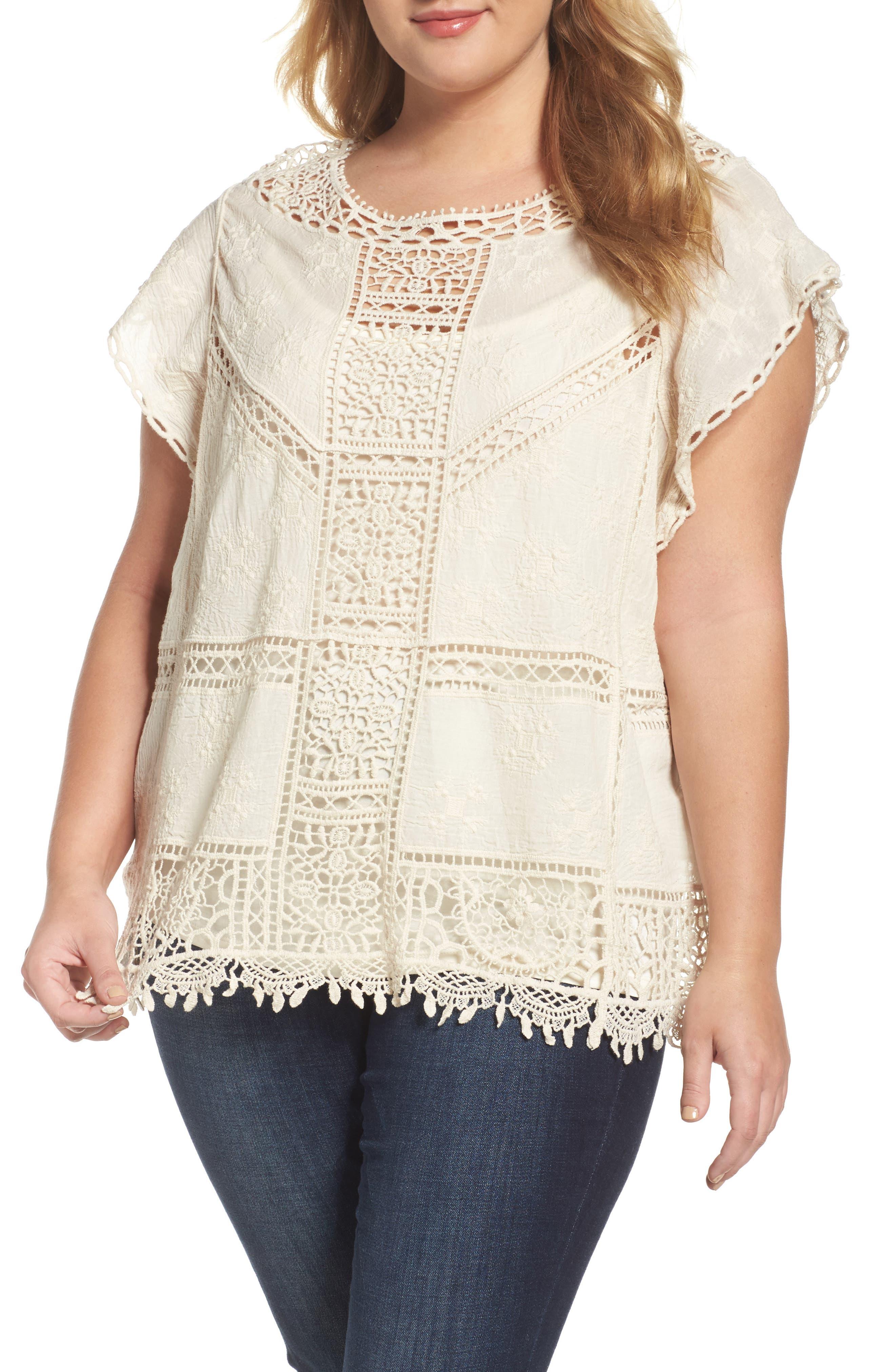 Wit & Wisdom Flutter Sleeve Crochet Top (Plus Size) (Nordstrom Exclusive)