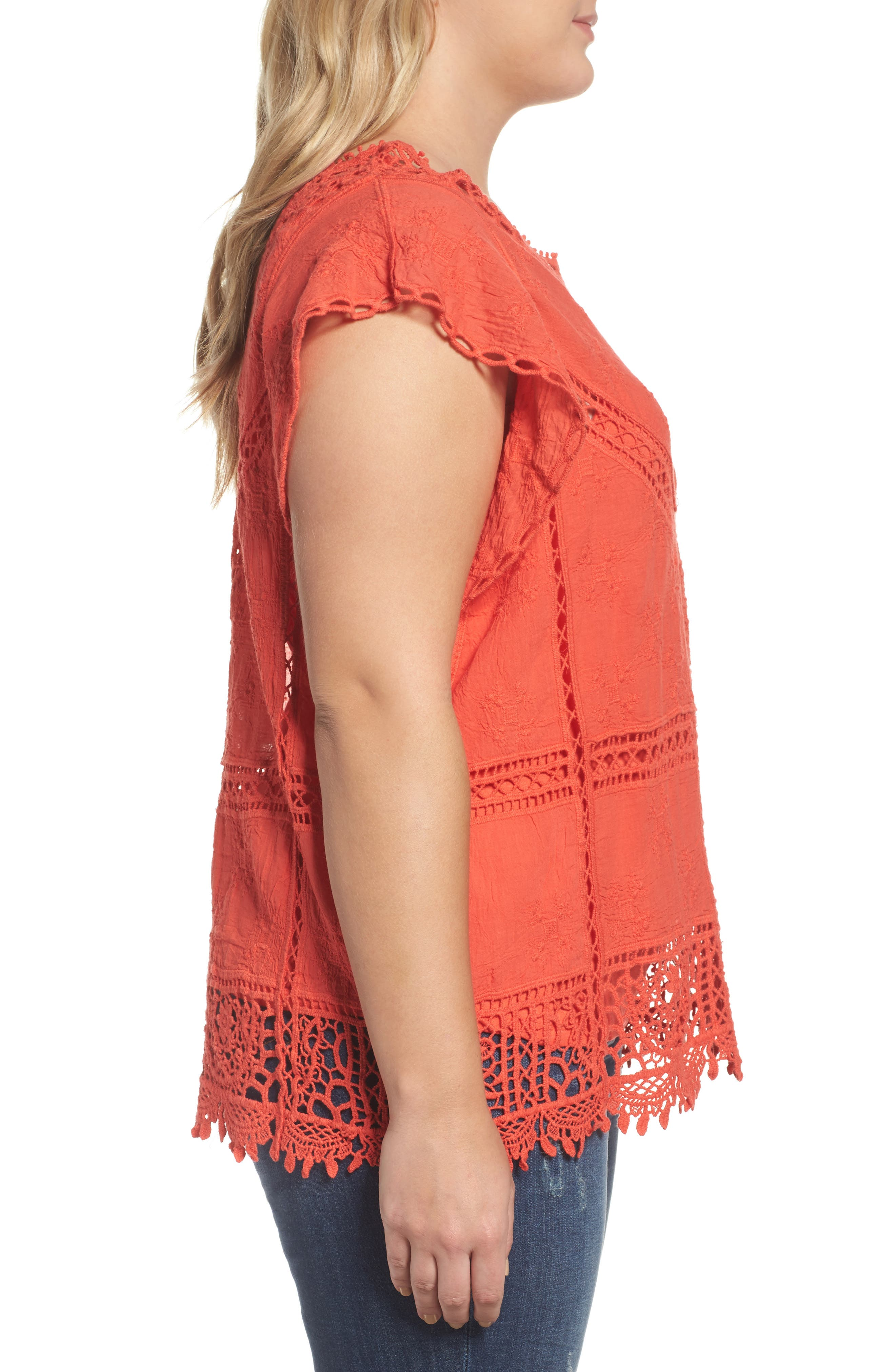 Flutter Sleeve Crochet Top,                             Alternate thumbnail 3, color,                             Red Coral