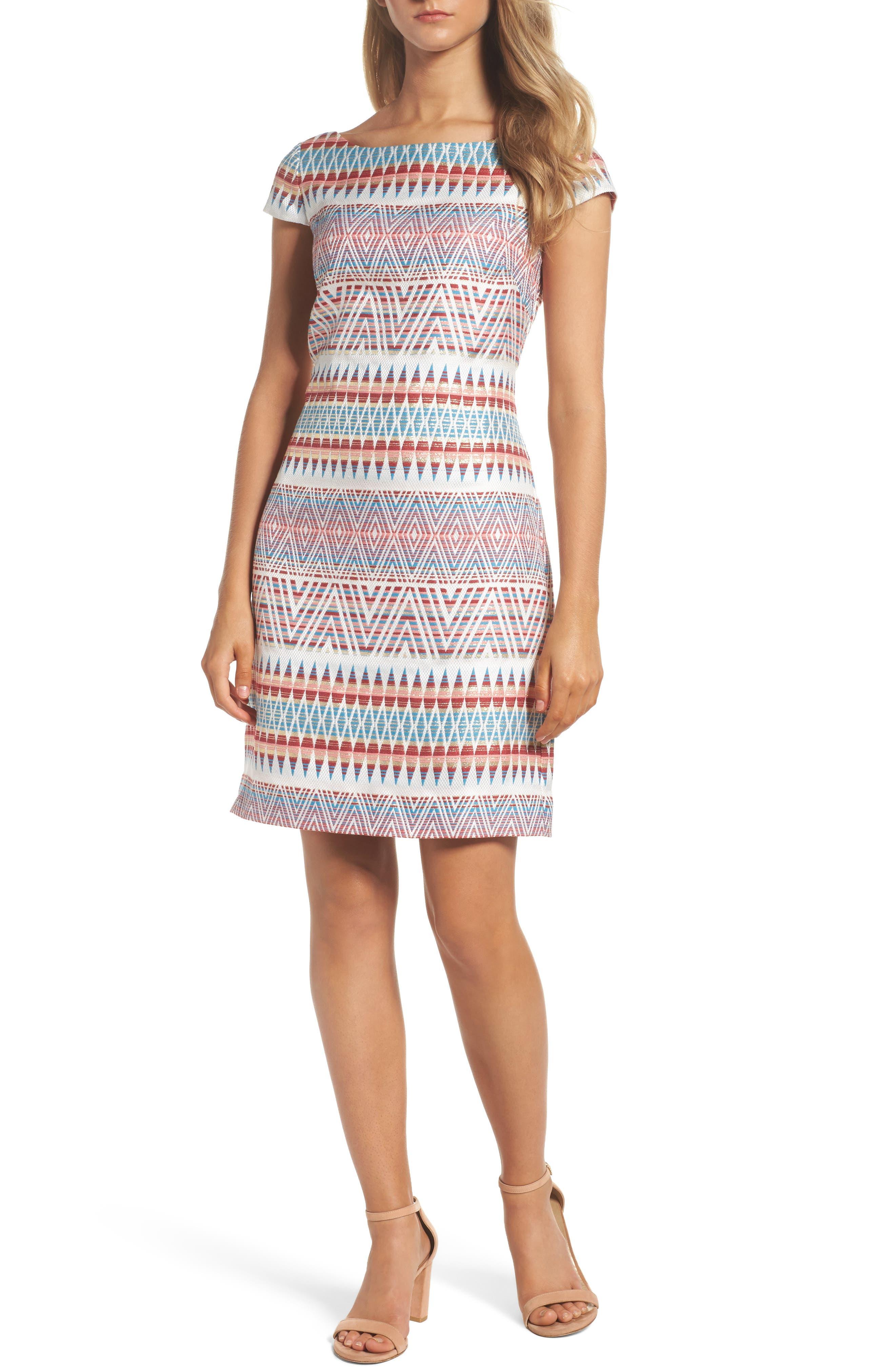 Jacquard Sheath Dress,                             Main thumbnail 1, color,                             Coral Multi