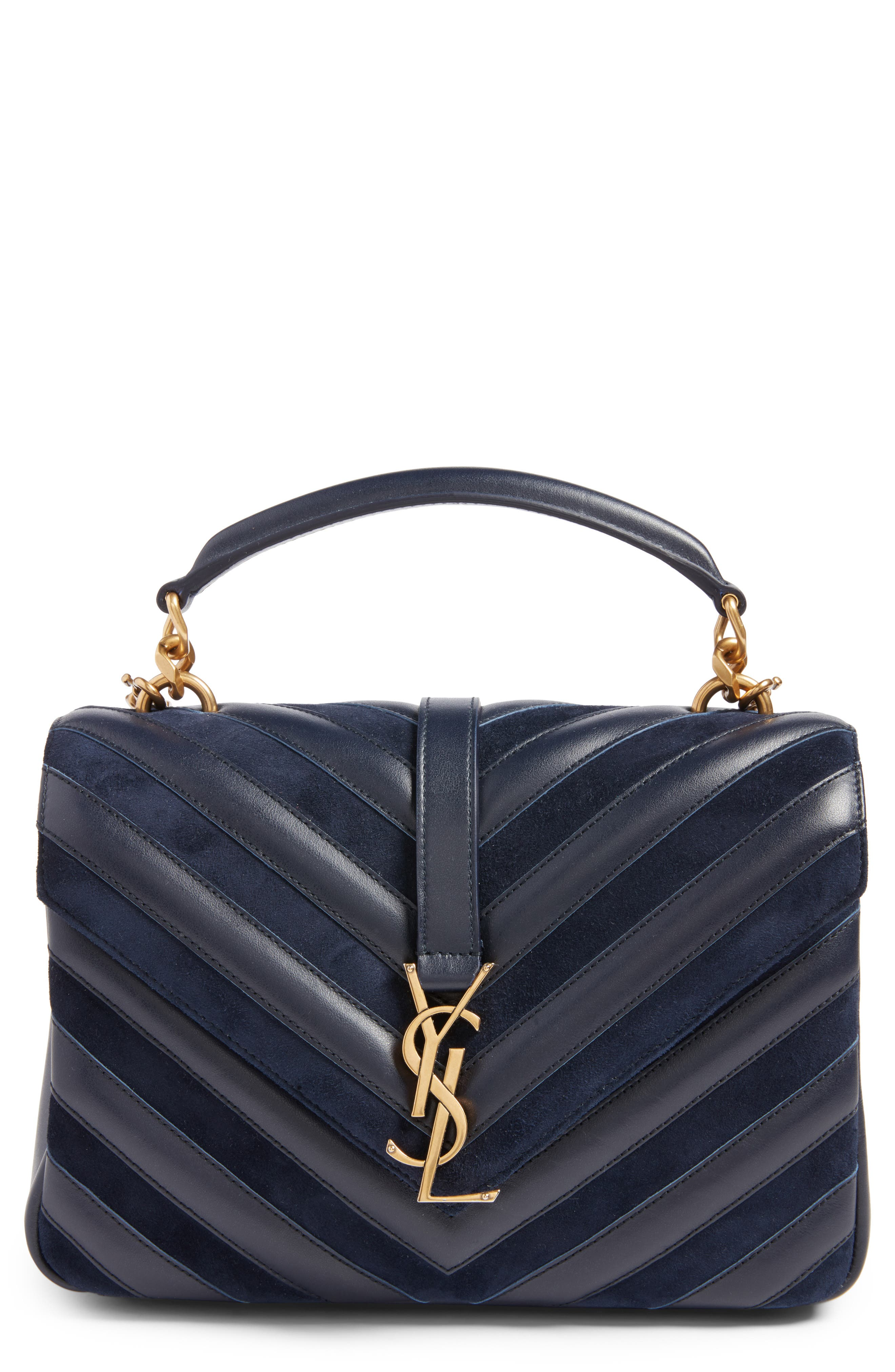 Medium College Patchwork Suede & Leather Shoulder Bag,                         Main,                         color, Deep Marine