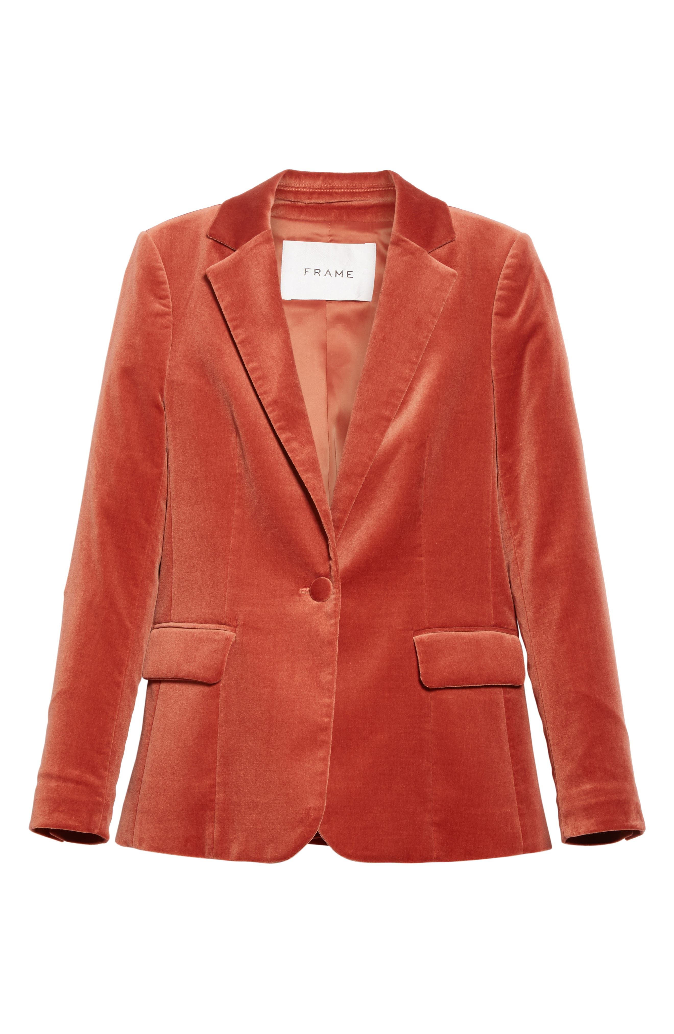 Stretch Velvet Blazer,                             Alternate thumbnail 5, color,                             Spice